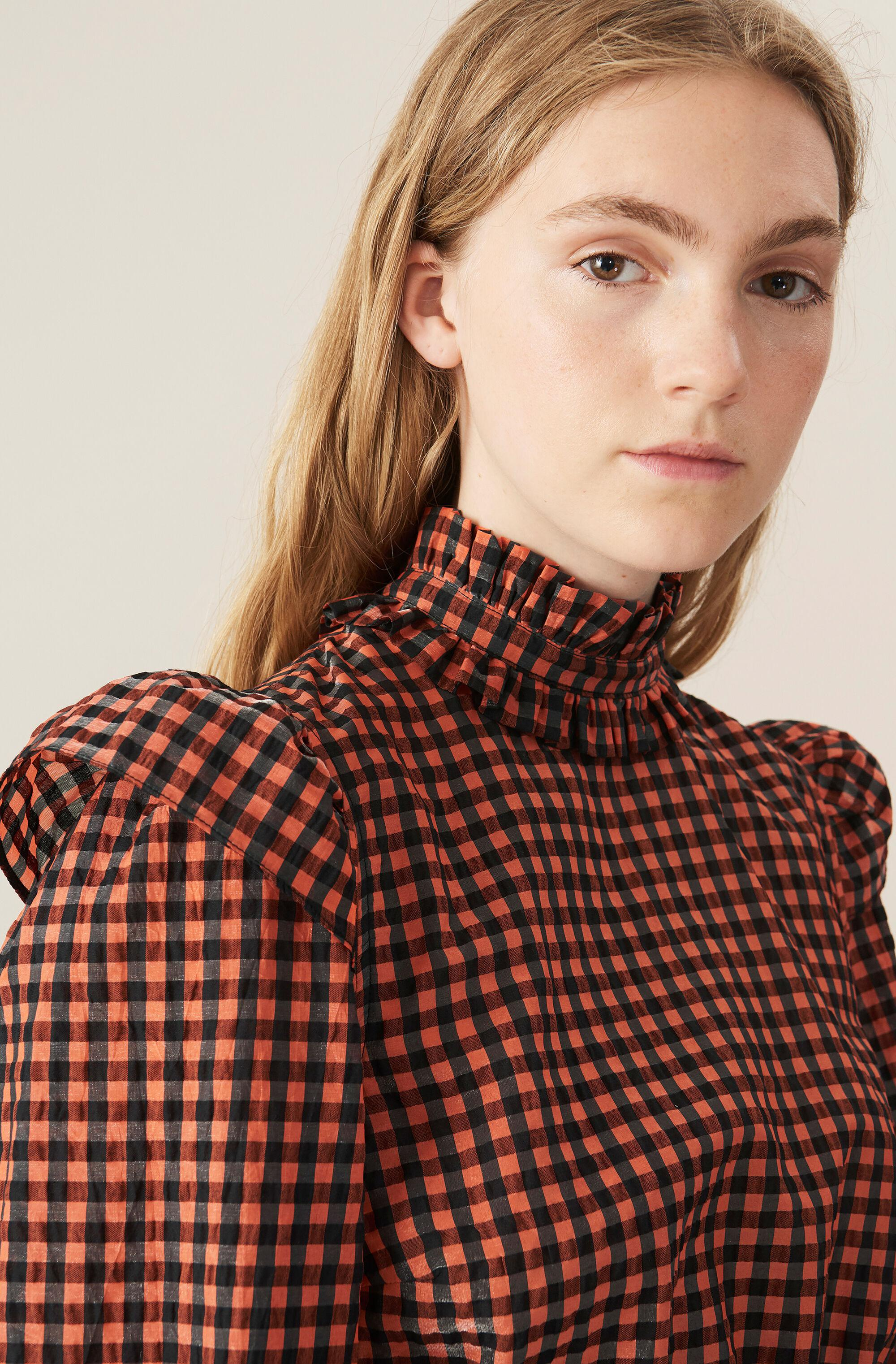 Seersucker Check Cropped Blouse 3