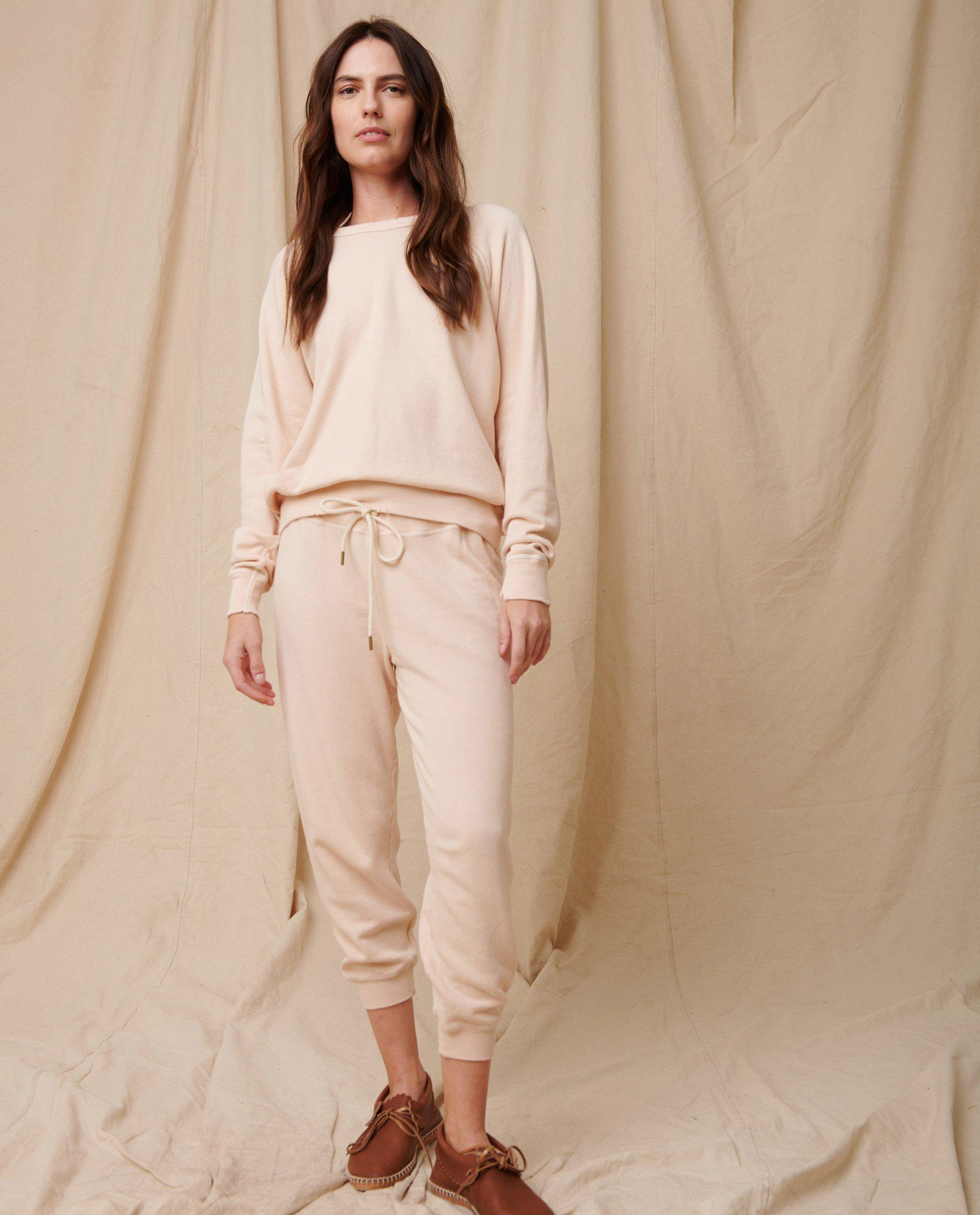 The Cropped Sweatpant. Solid -- Whisper Pink 1
