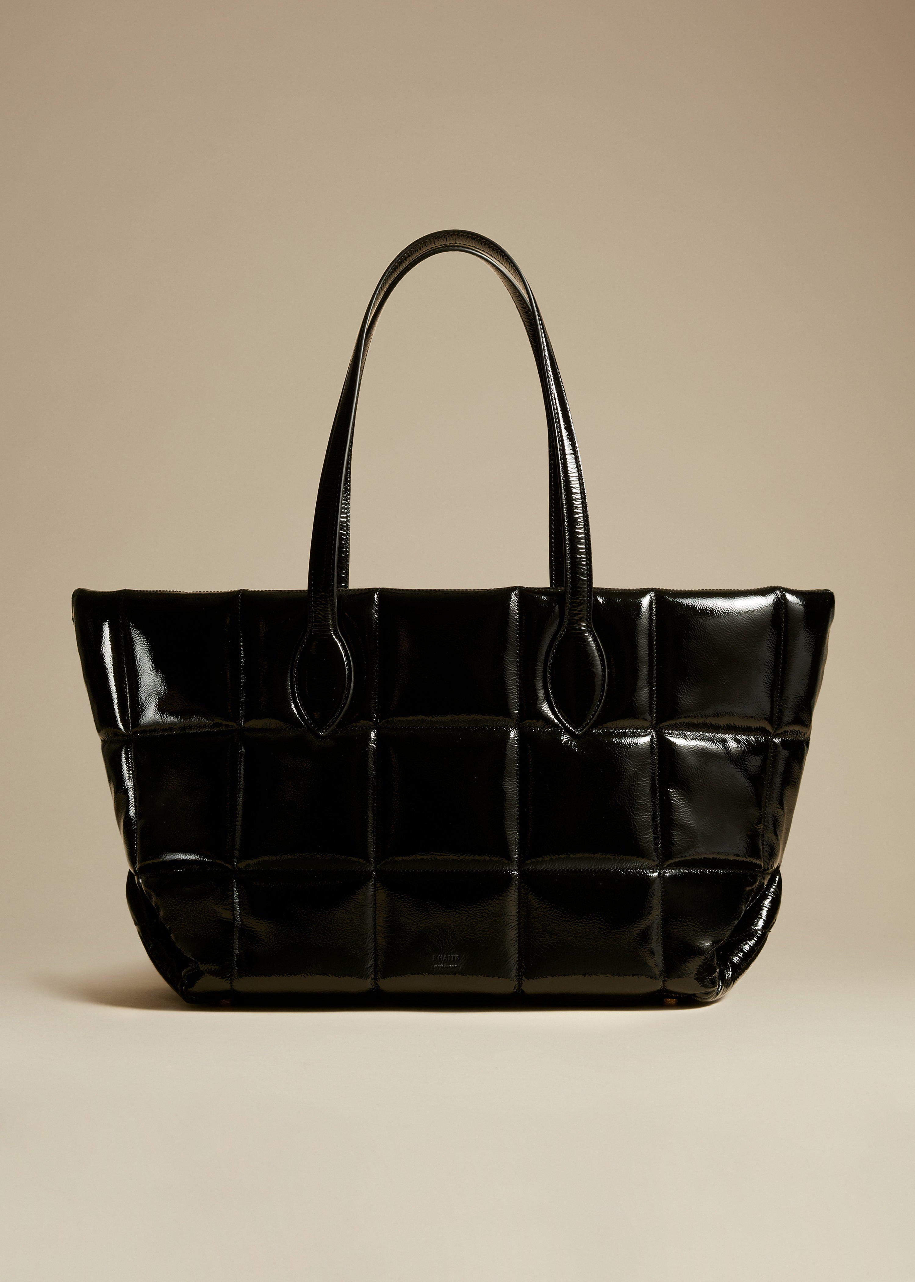 The Florence Quilted Tote in Black Patent Leather