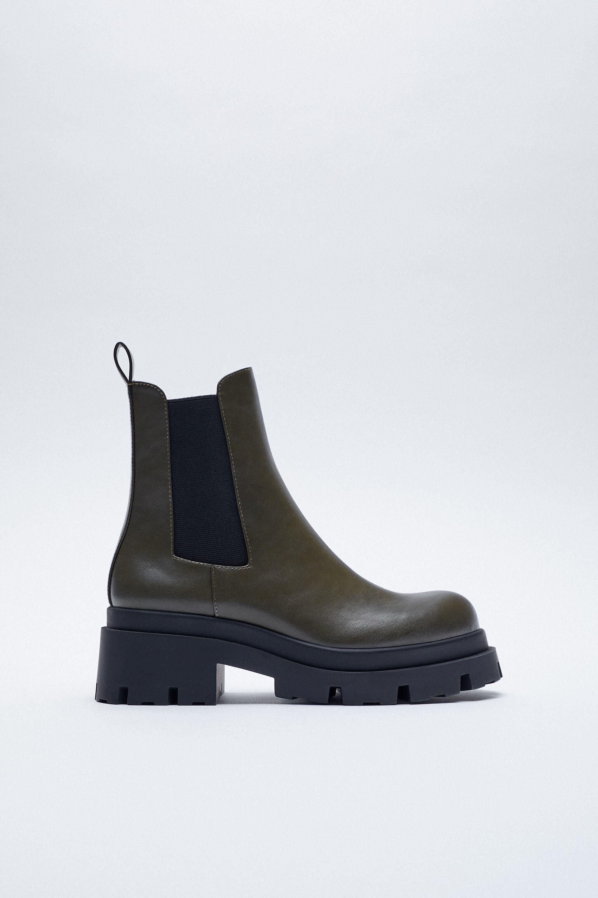 LOW HEELED LUG SOLE ANKLE BOOTS