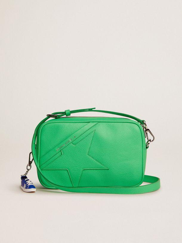 Star Bag in fluorescent green hammered leather with tone-on-tone star
