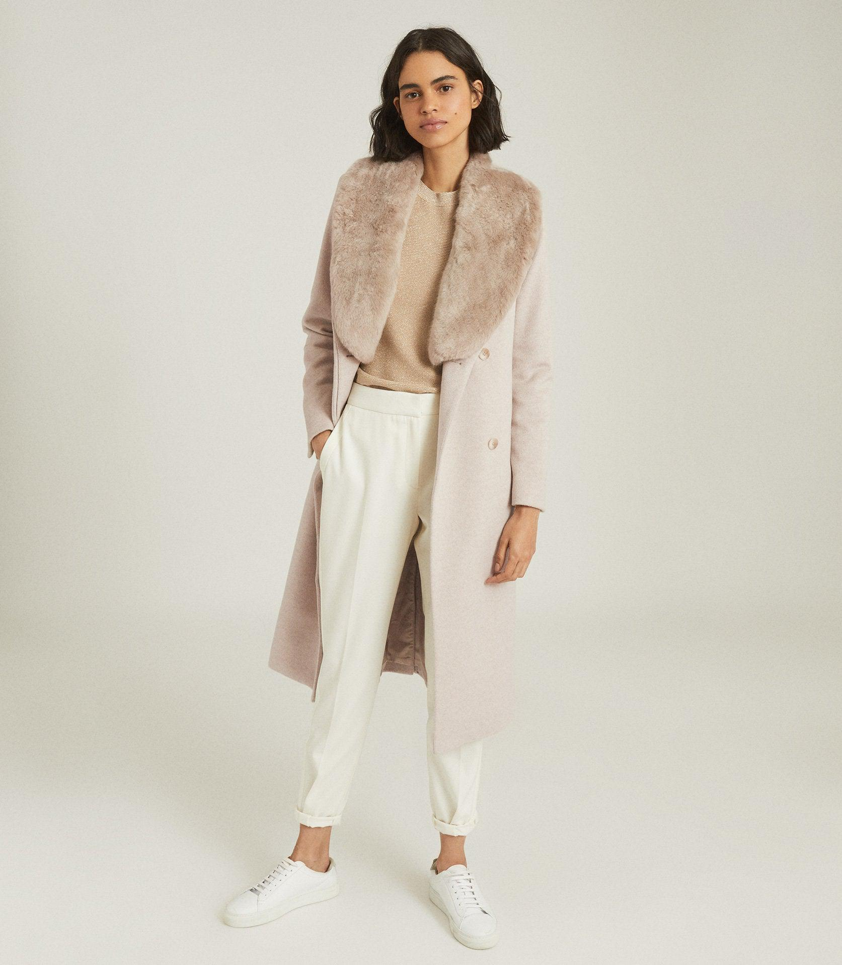 PACEY - FAUX FUR SHAWL COLLAR OVERCOAT