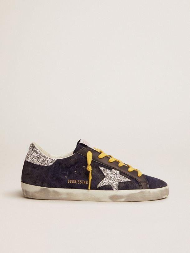 Super-Star sneakers in dark blue suede with checkered pattern and silver glitter details