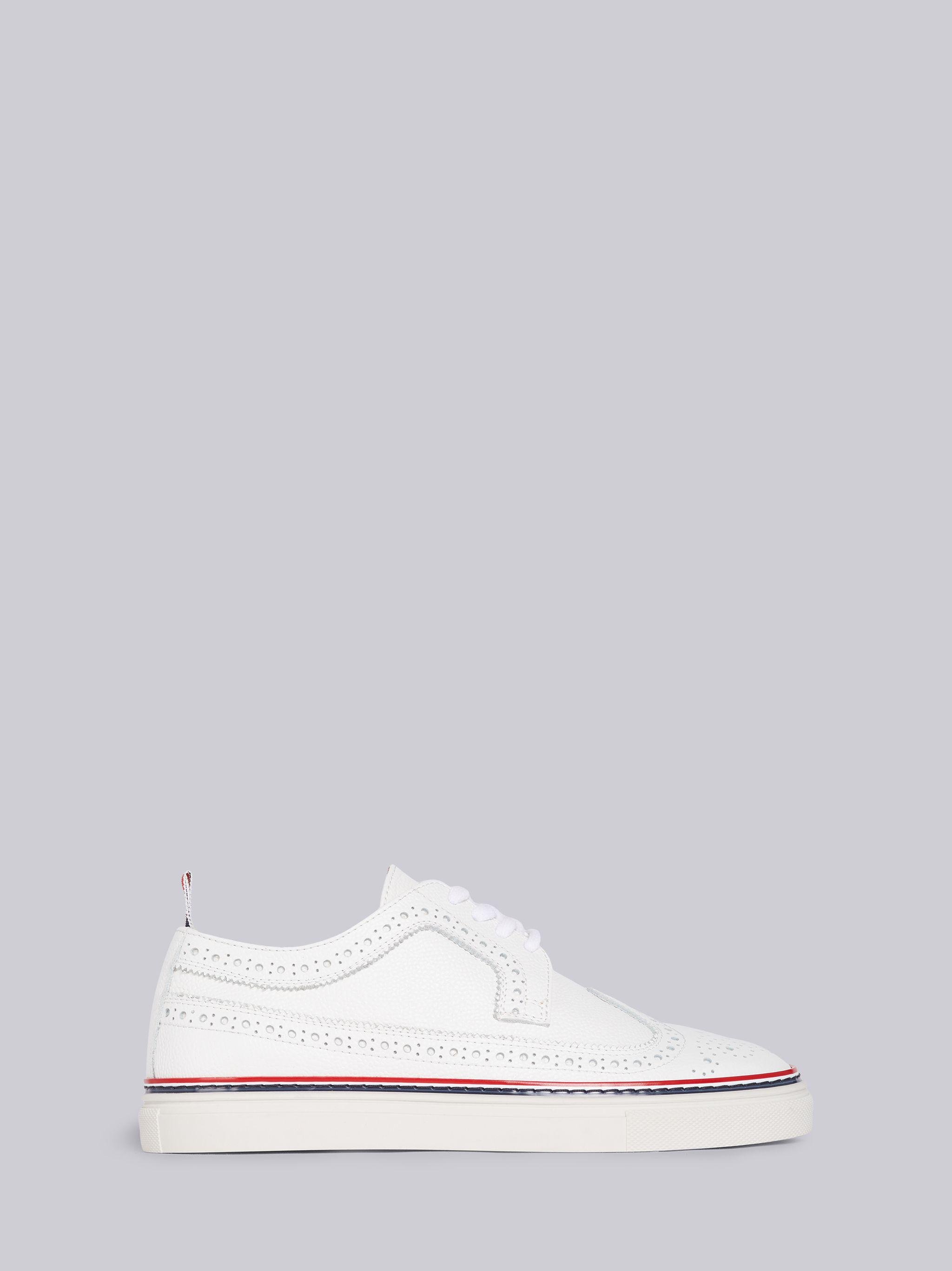 White Pebbled Rubber Cupsole Longwing Trainer
