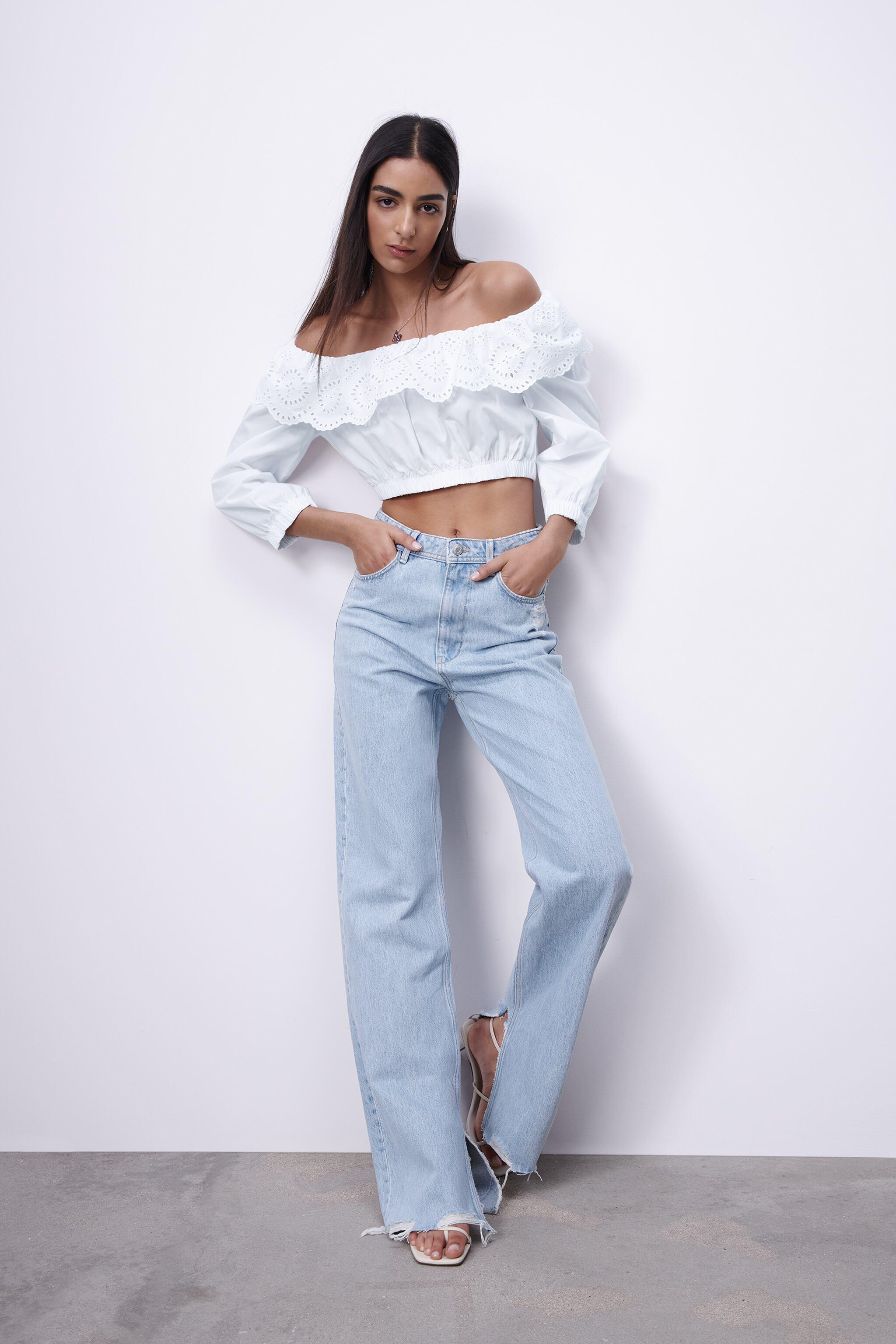 EMBROIDERED EYELET POPLIN TOP