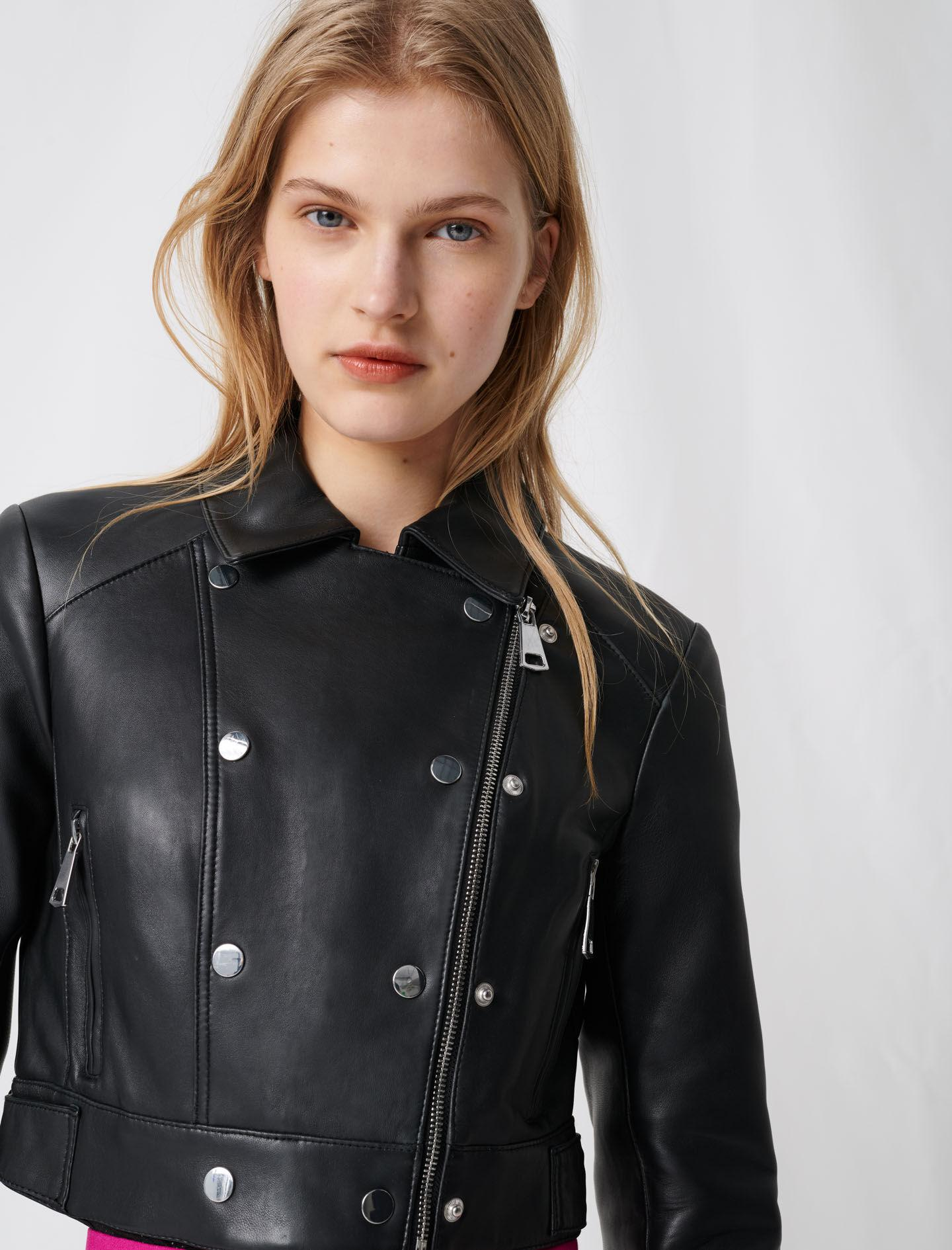 SHORT LEATHER JACKET WITH ASYMMETRIC ZIP