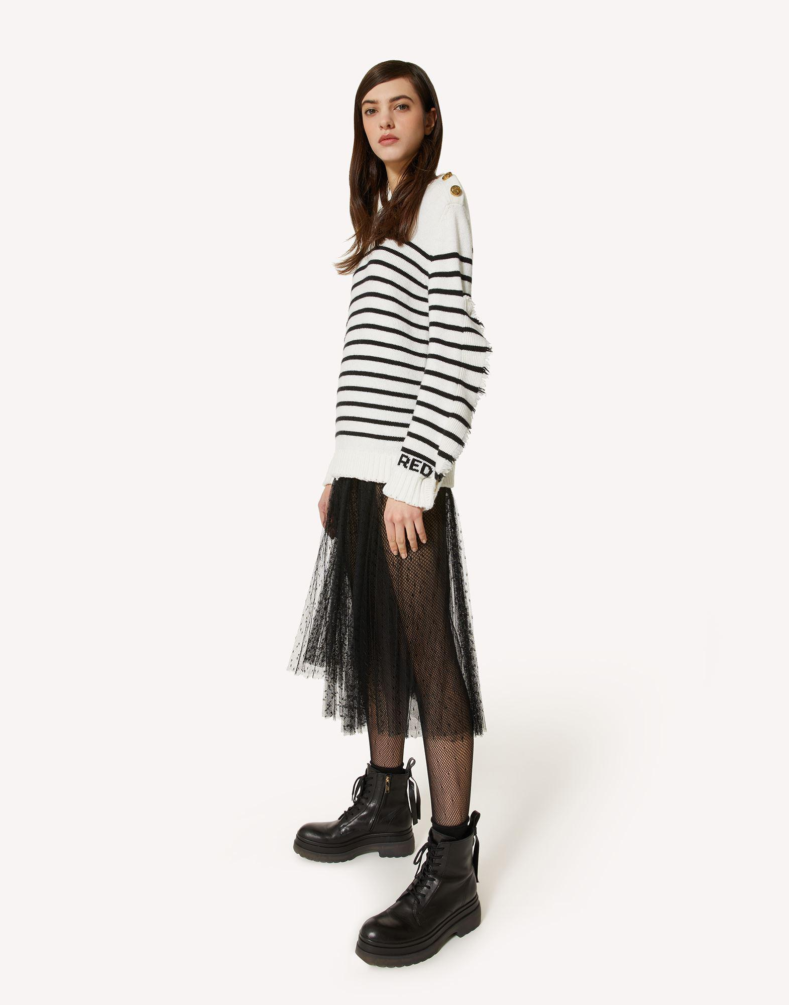 STRIPED WOOL-BLEND SWEATER WITH RUFFLE DETAIL 2