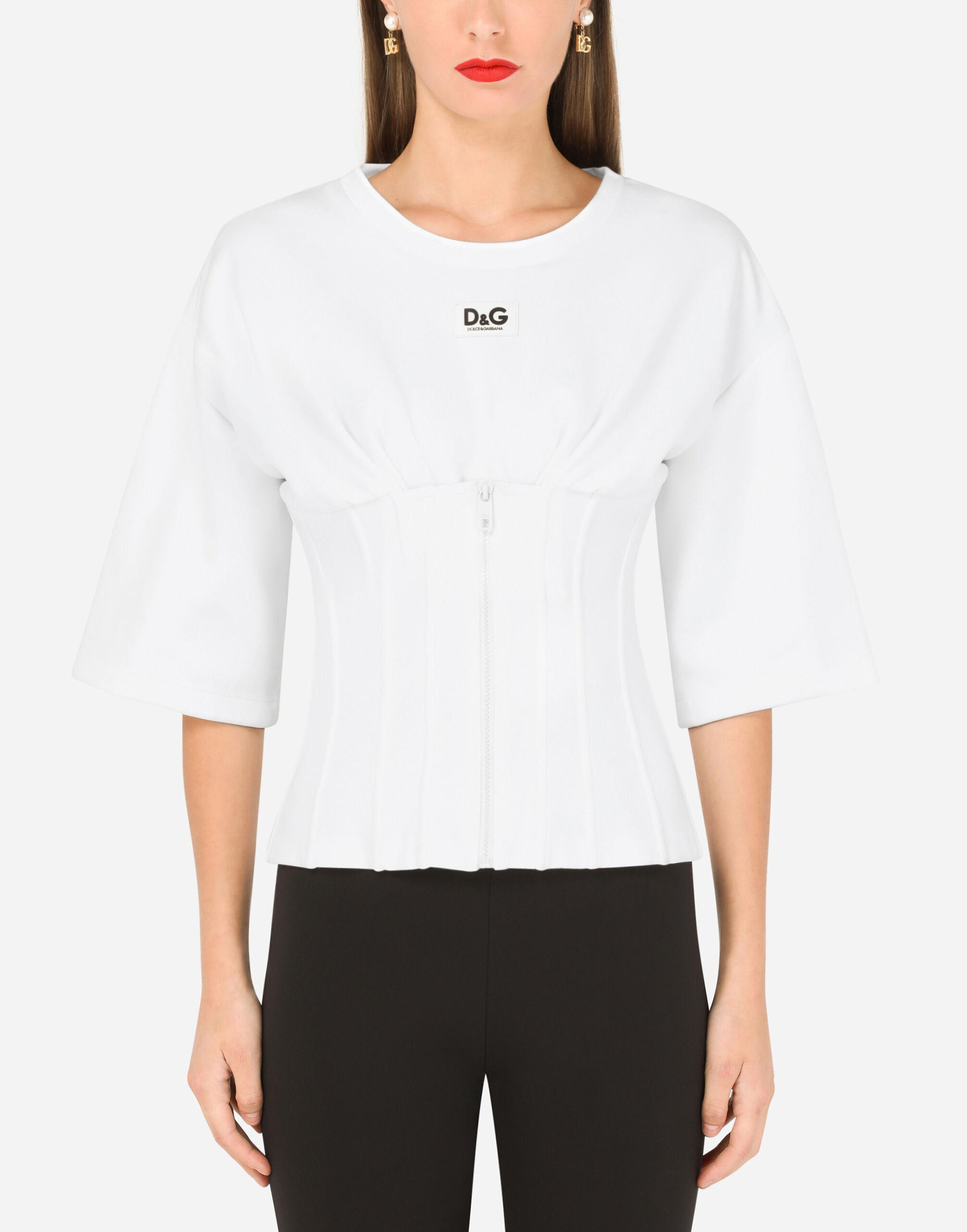 Jersey T-shirt with bustier details and DG embellishment