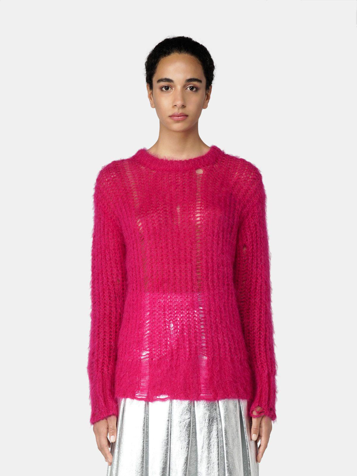 Fucsia Color Block pullover with distressed effect