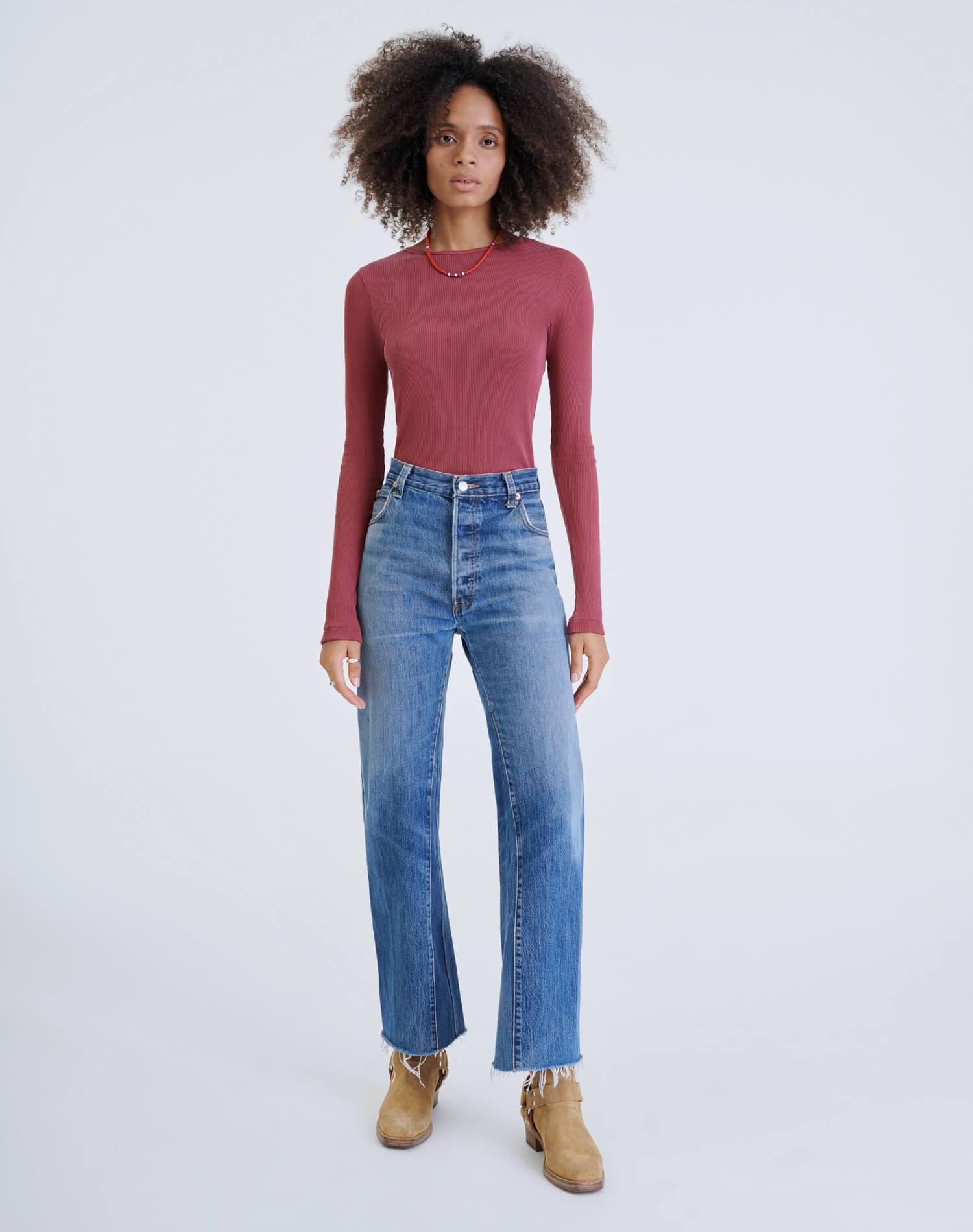 60s Ribbed Long Sleeve Bodysuit - Natural Berry 2
