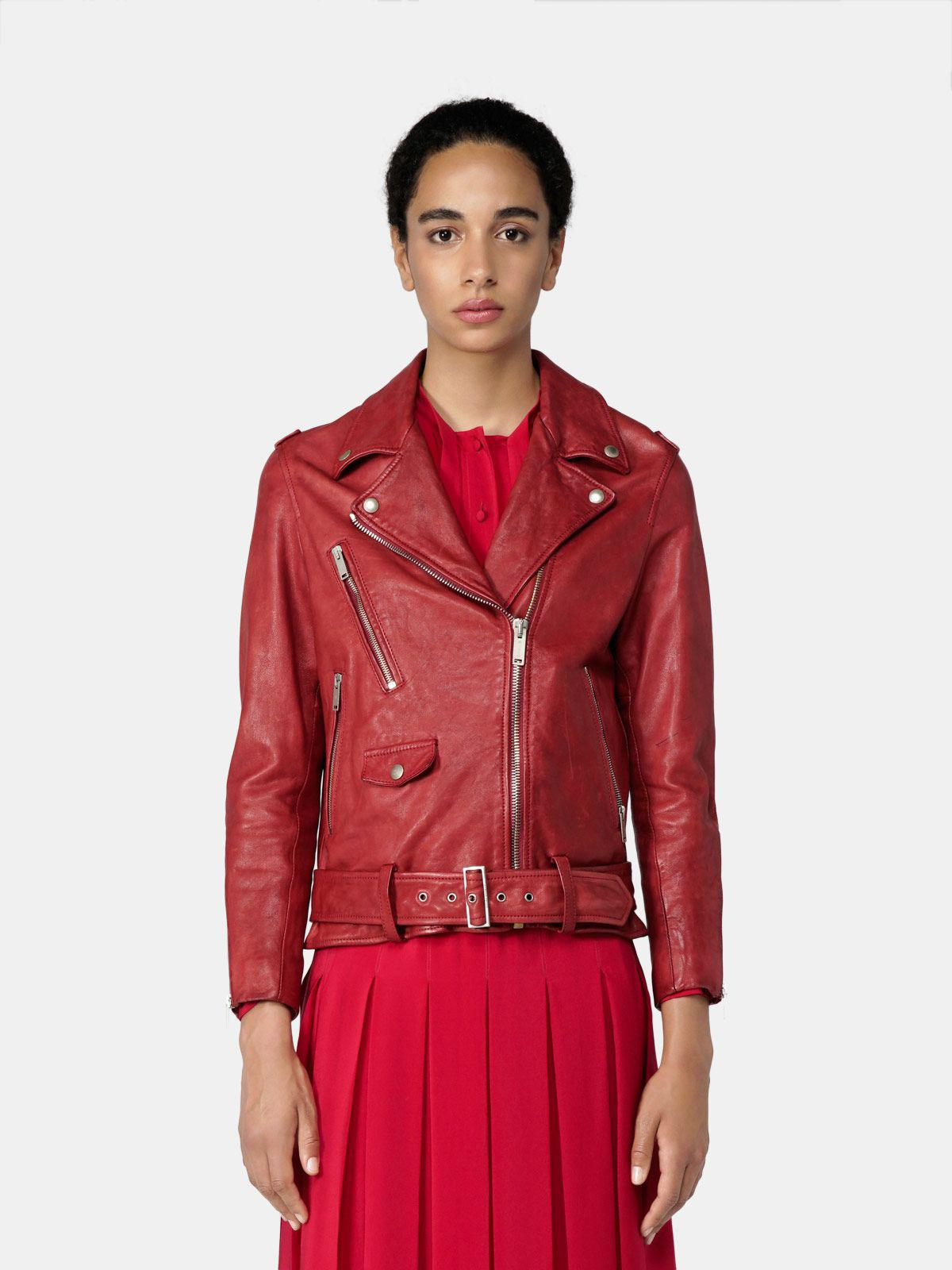 Golden biker jacket in red vegetable-tanned nappa leather