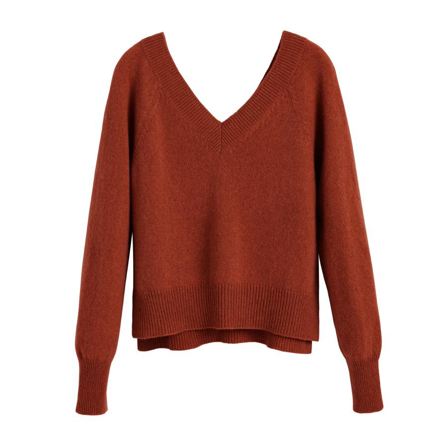 Women's Recycled Deep V-Neck Sweater in Ginger | Size: