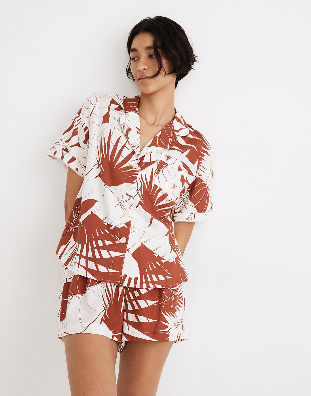 Oversized Pajama Shirt in Tropical Vacation