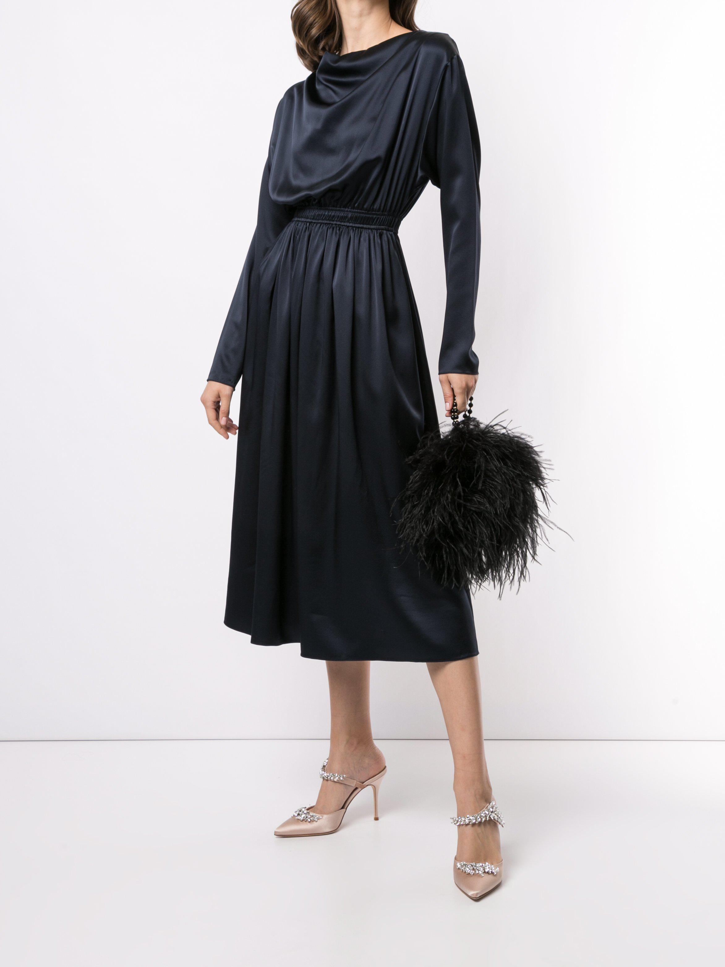 COWL NECK DRESS IN SILK CHARMEUSE 0