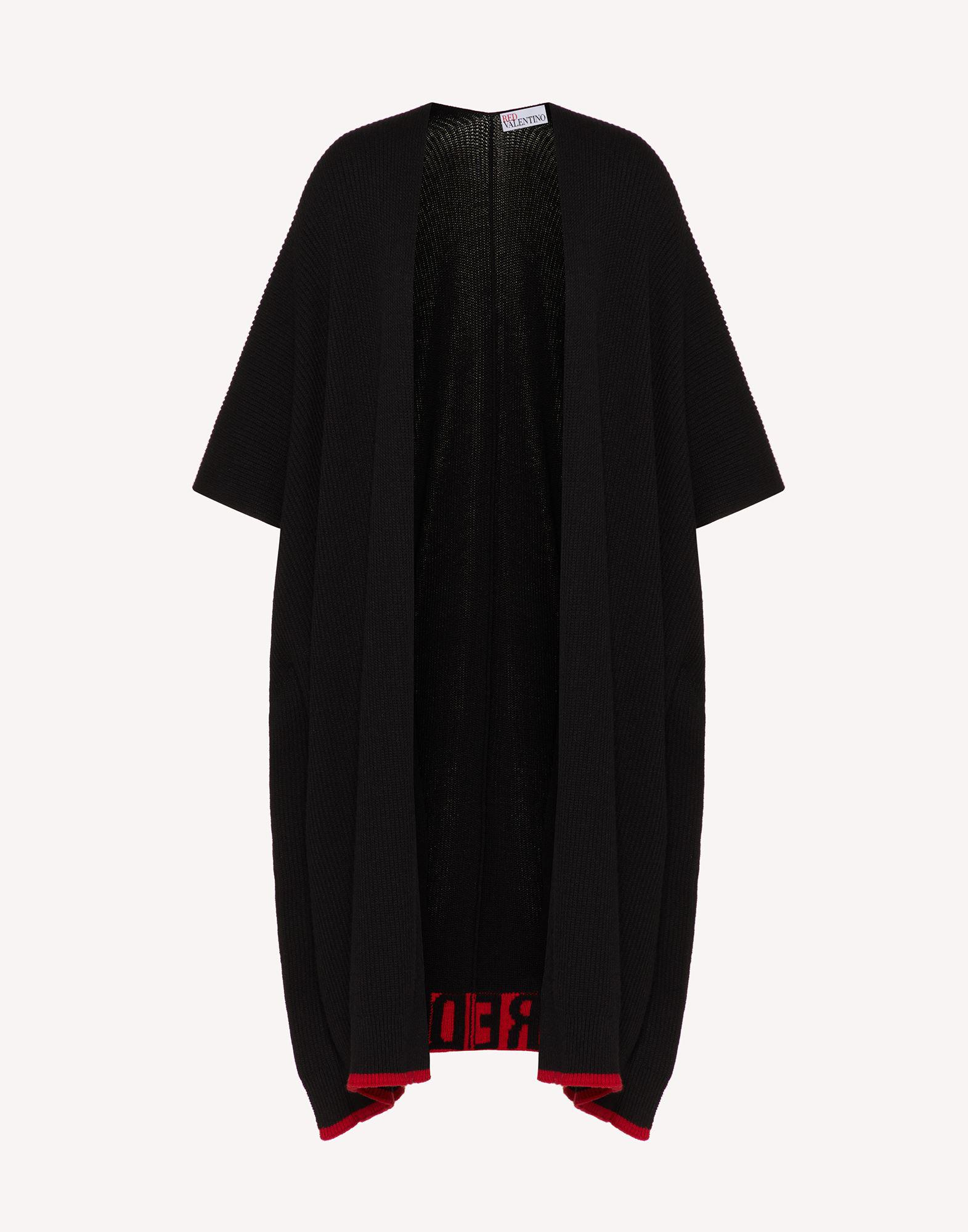 RED EMBROIDERED WOOL-BLEND KNIT CAPE 4