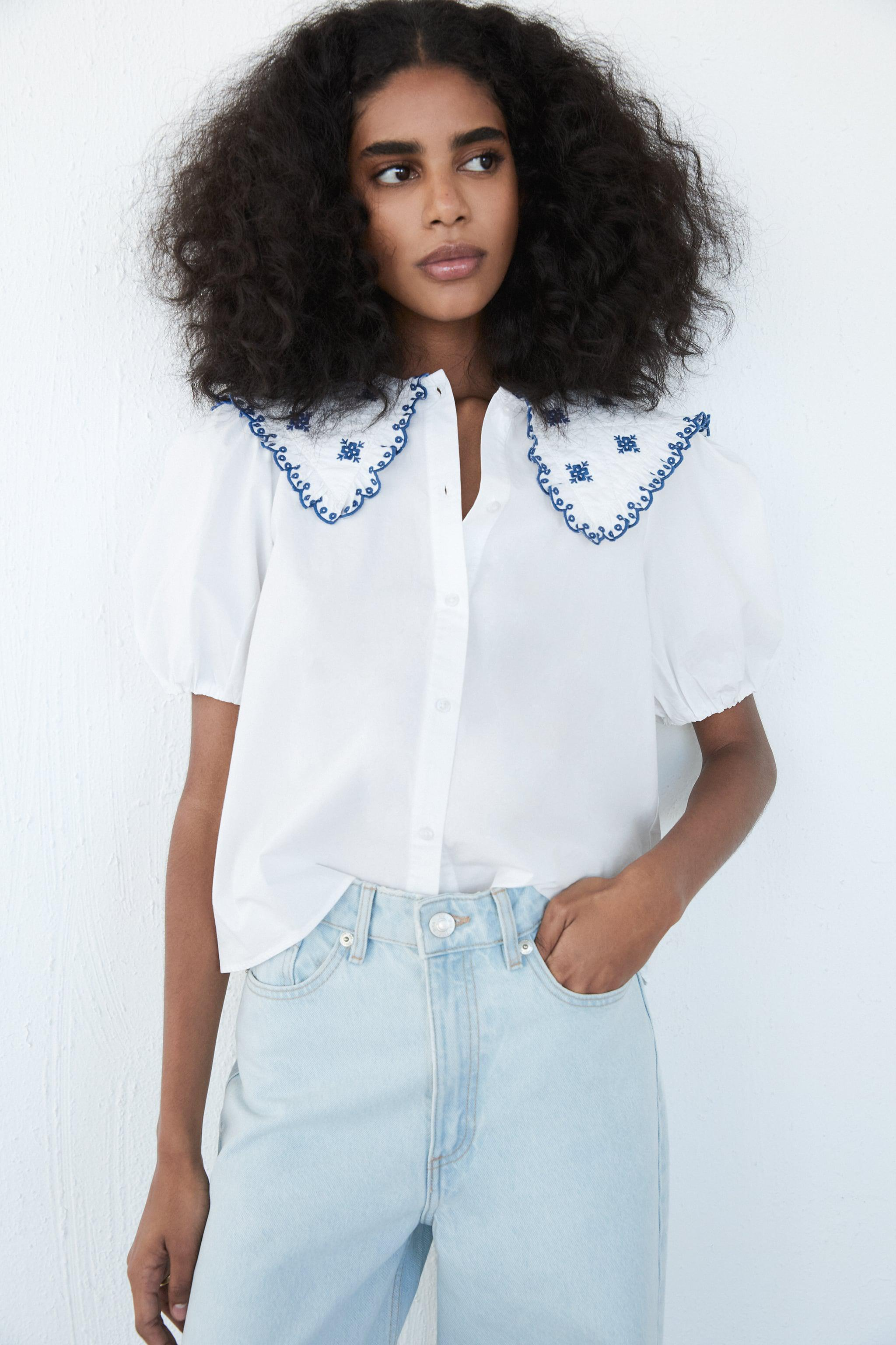EMBROIDERED POPLIN TOP 1