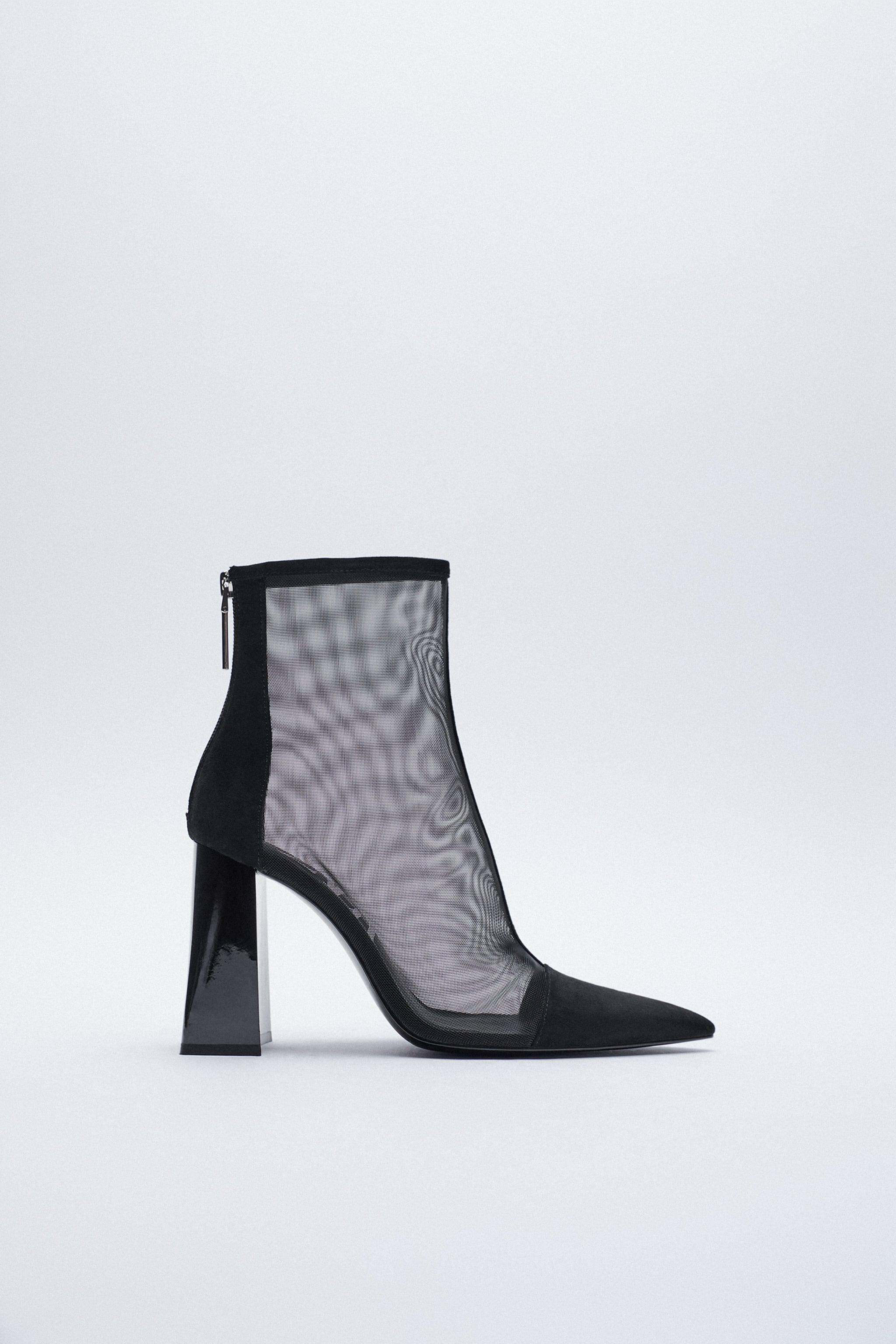 WIDE HEEL MESH ANKLE BOOTS