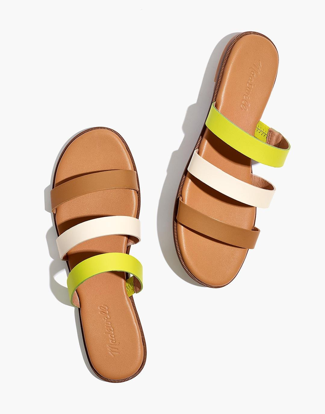 The Ilana Slide Sandal in Colorblock Leather