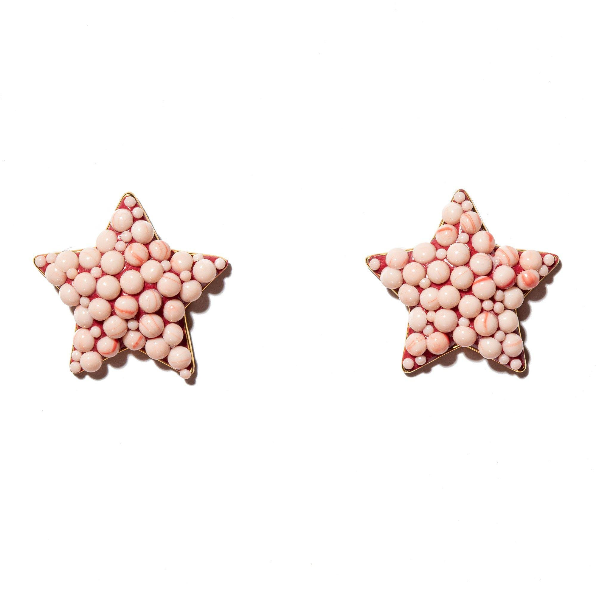 CORAL JEWELED STAR BUTTON EARRINGS