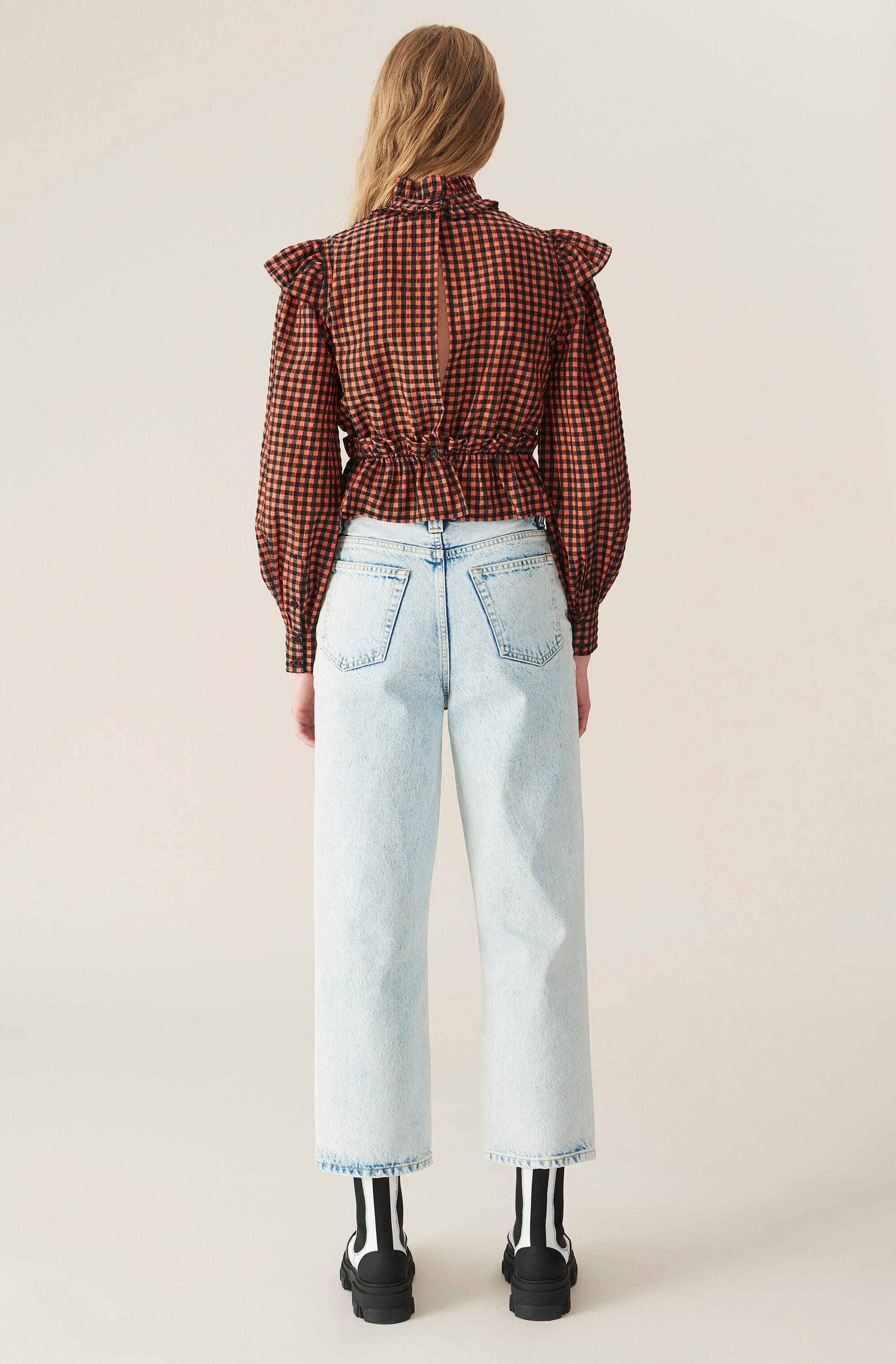 Seersucker Check Cropped Blouse 2