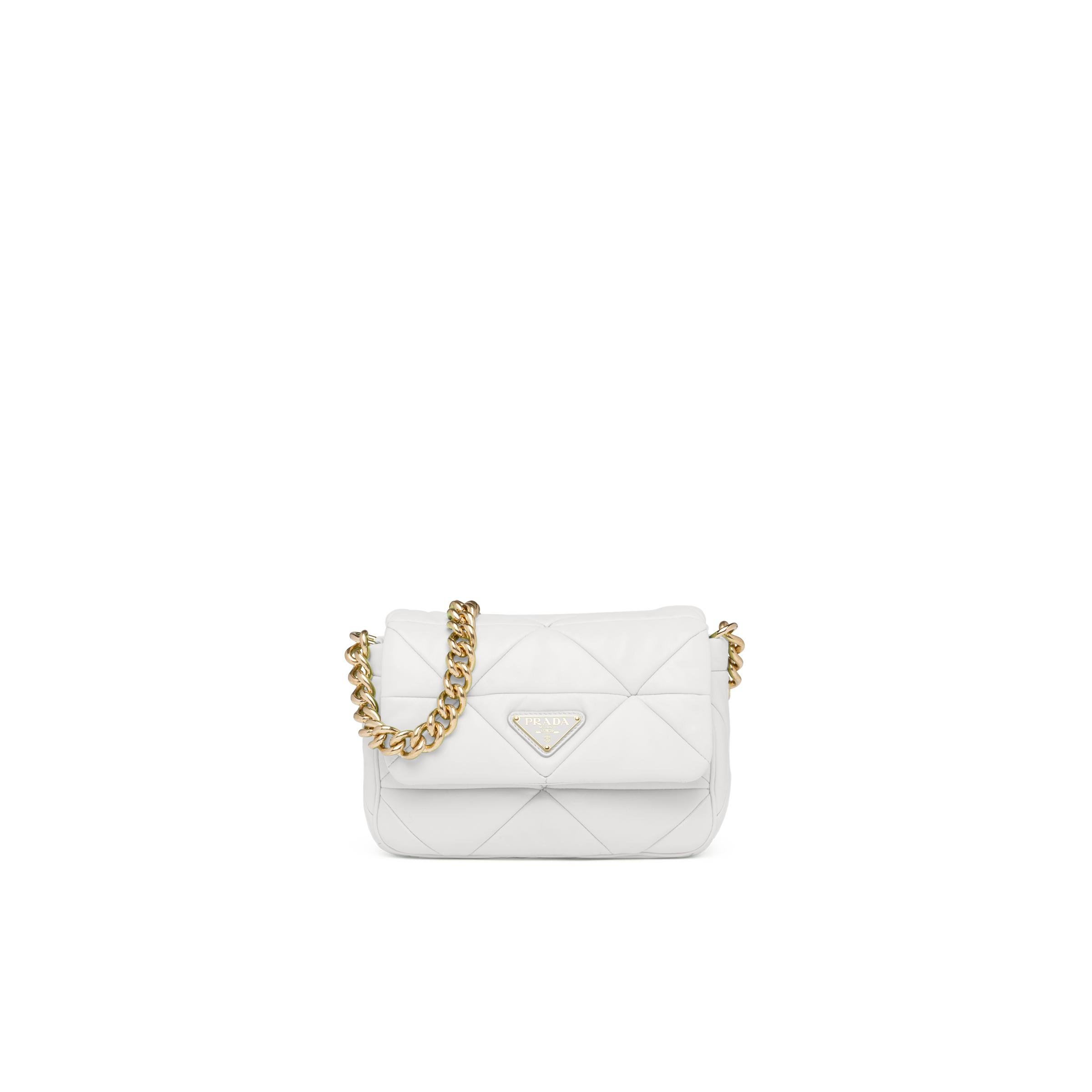 System Nappa Leather Patchwork Bag Women White