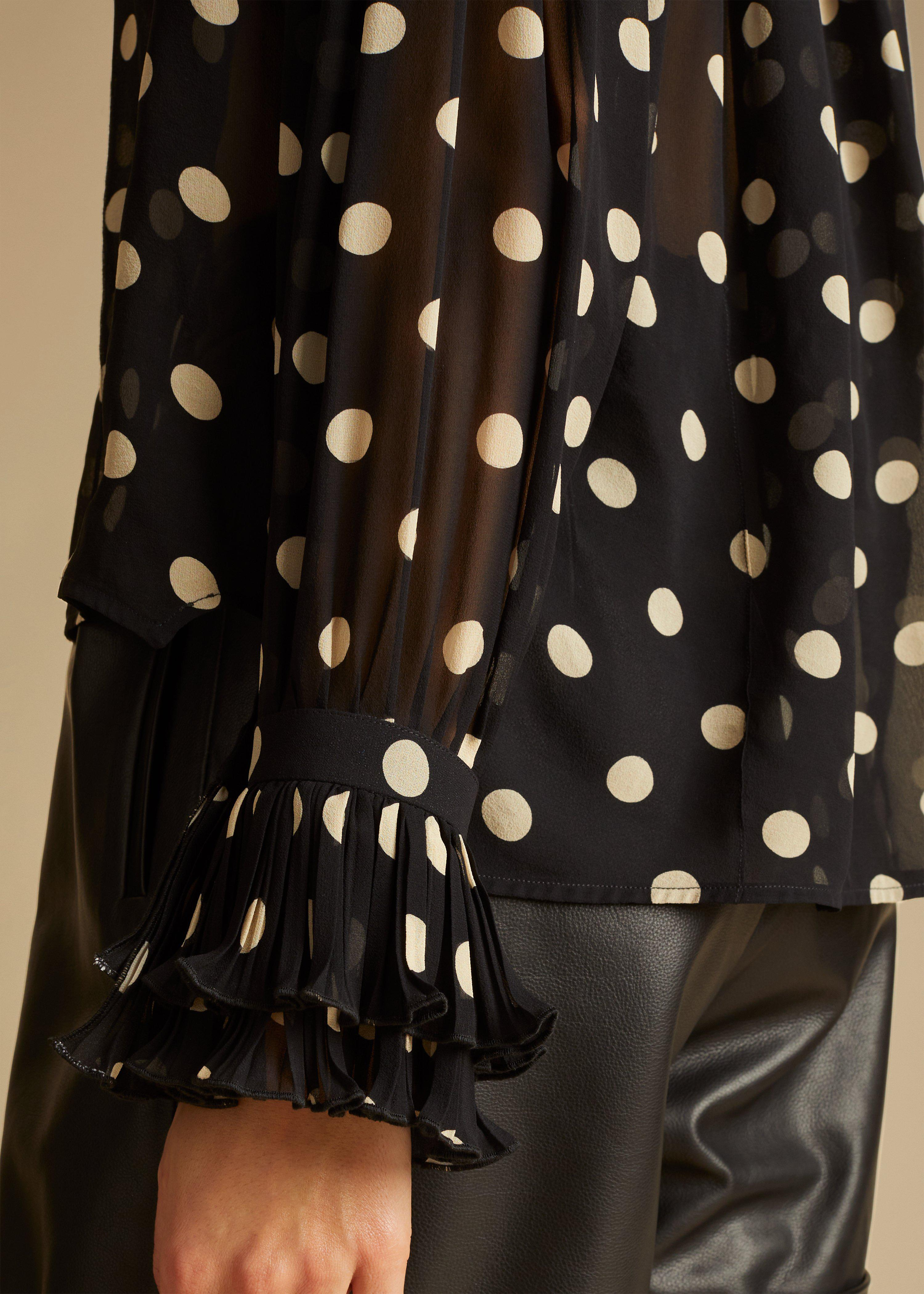 The Vanina Top in Black and Creme Dot 5
