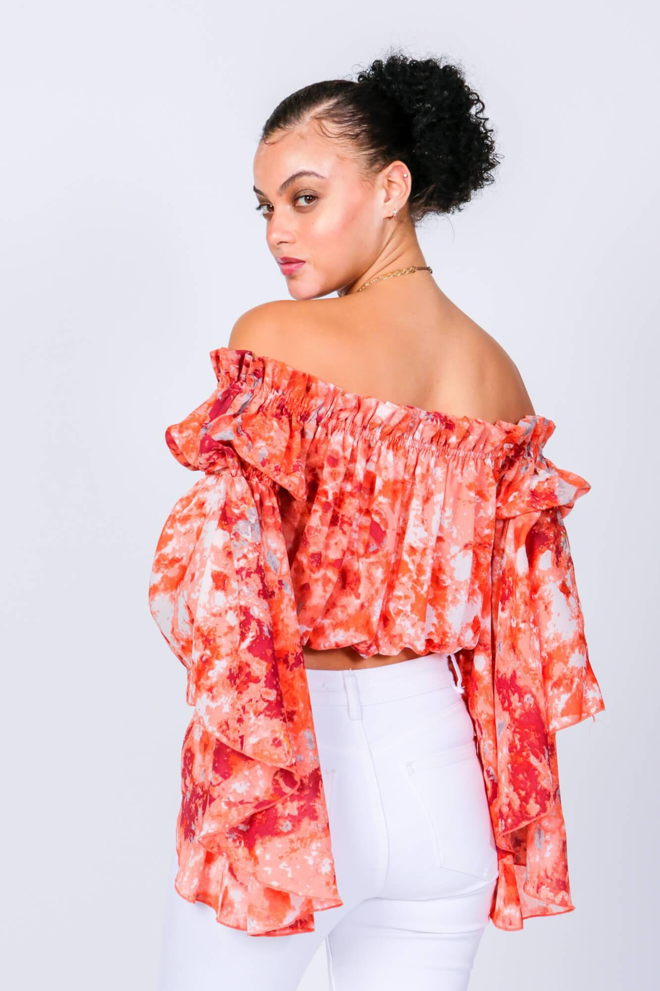 Red Swirl Brittney Off The Shoulder Bell Sleeve Top 4