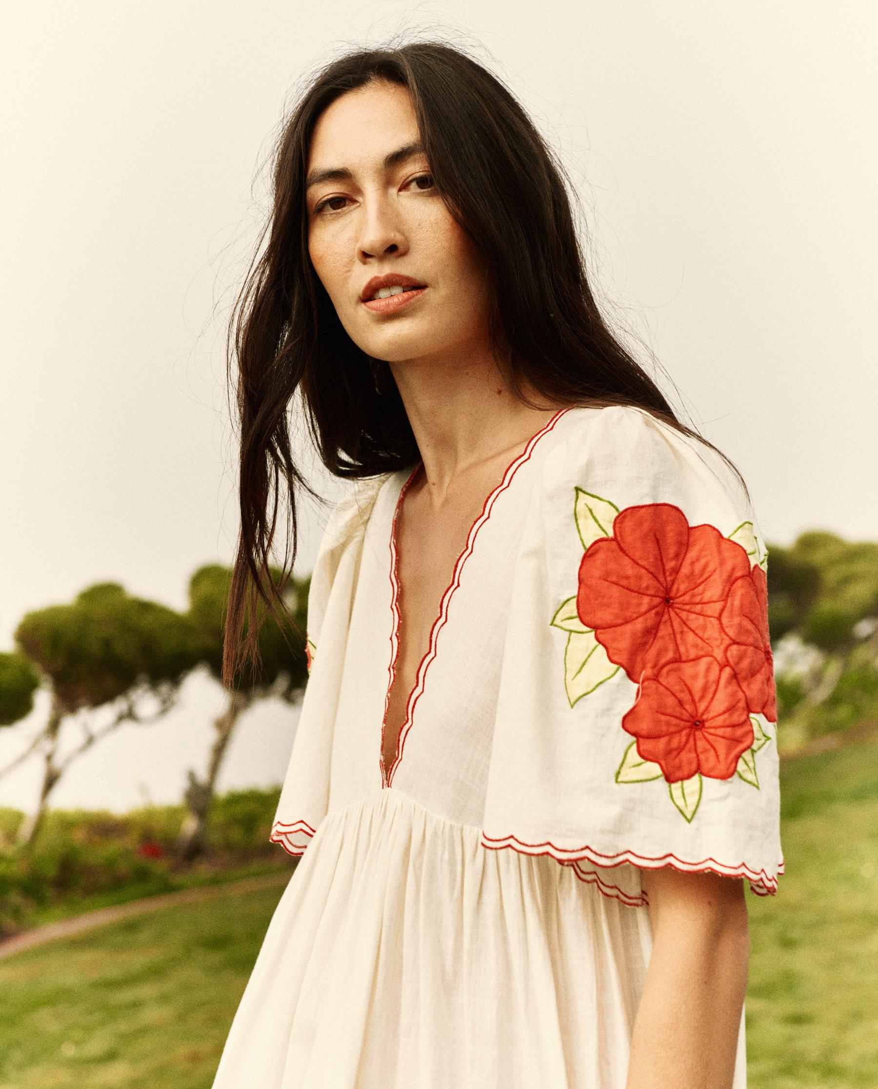 The Applique Floral Midi Dress. -- Cream with Red 3