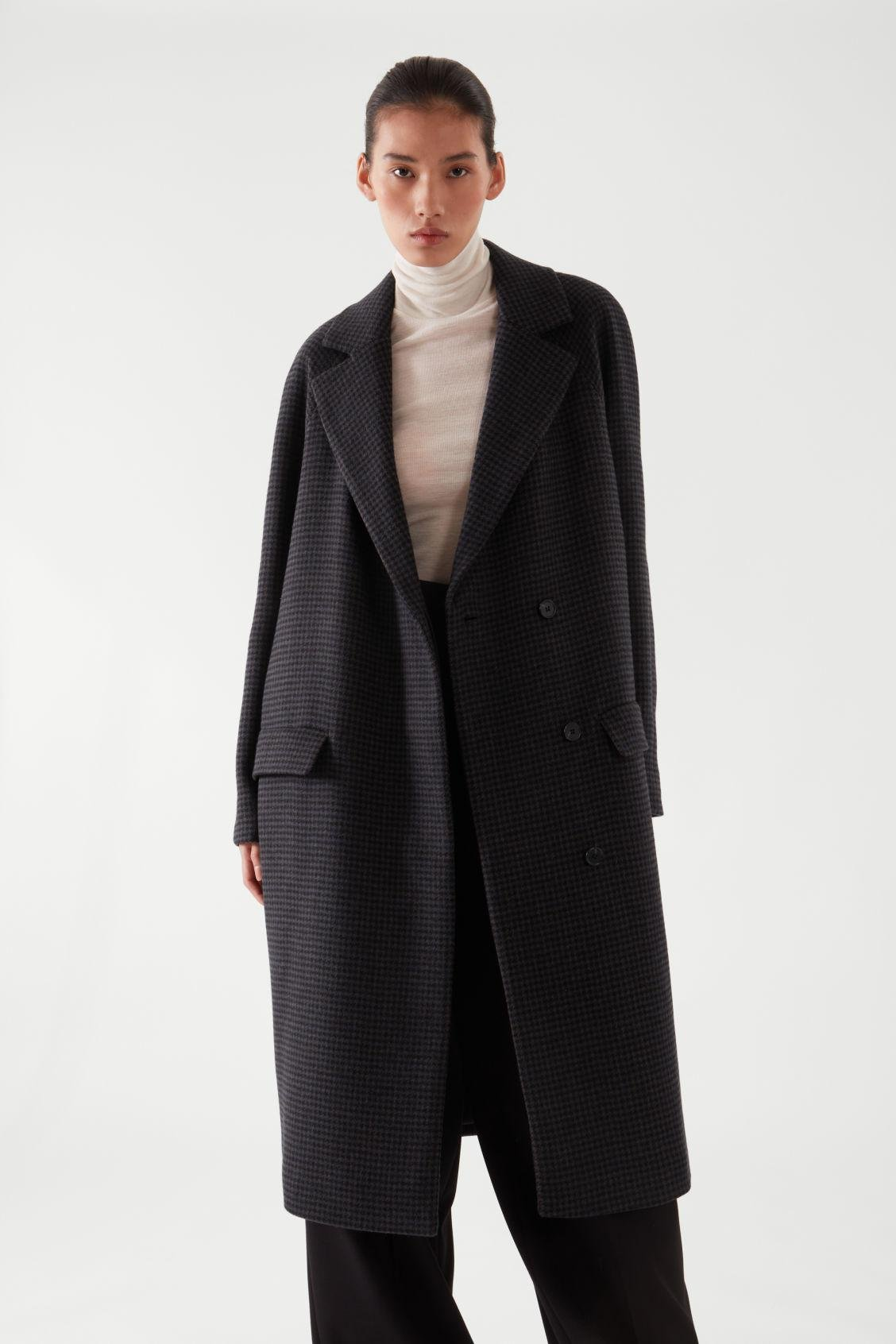HOUNDSTOOTH WOOL-MIX COAT