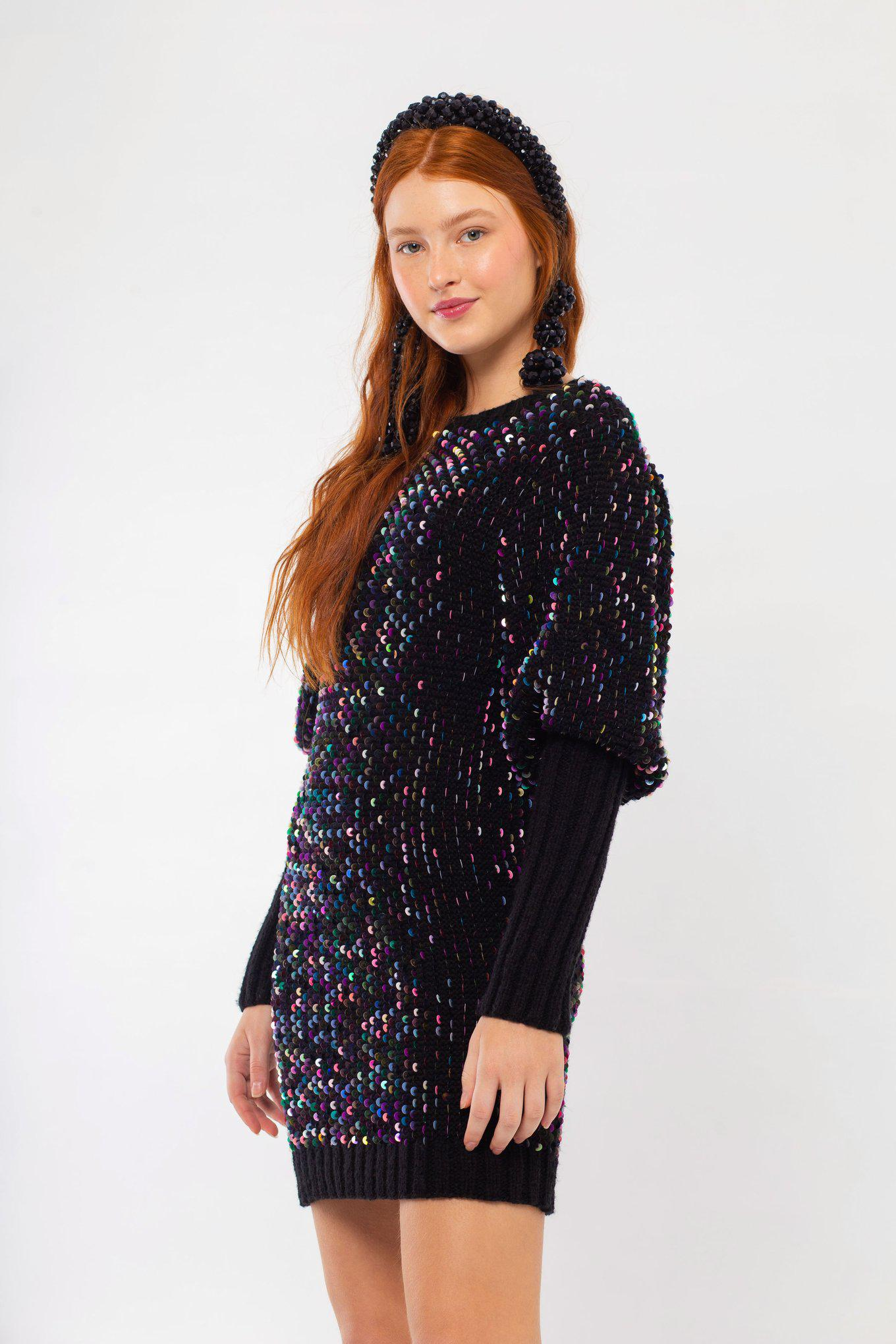EMBROIDERED SEQUIN SWEATER DRESS