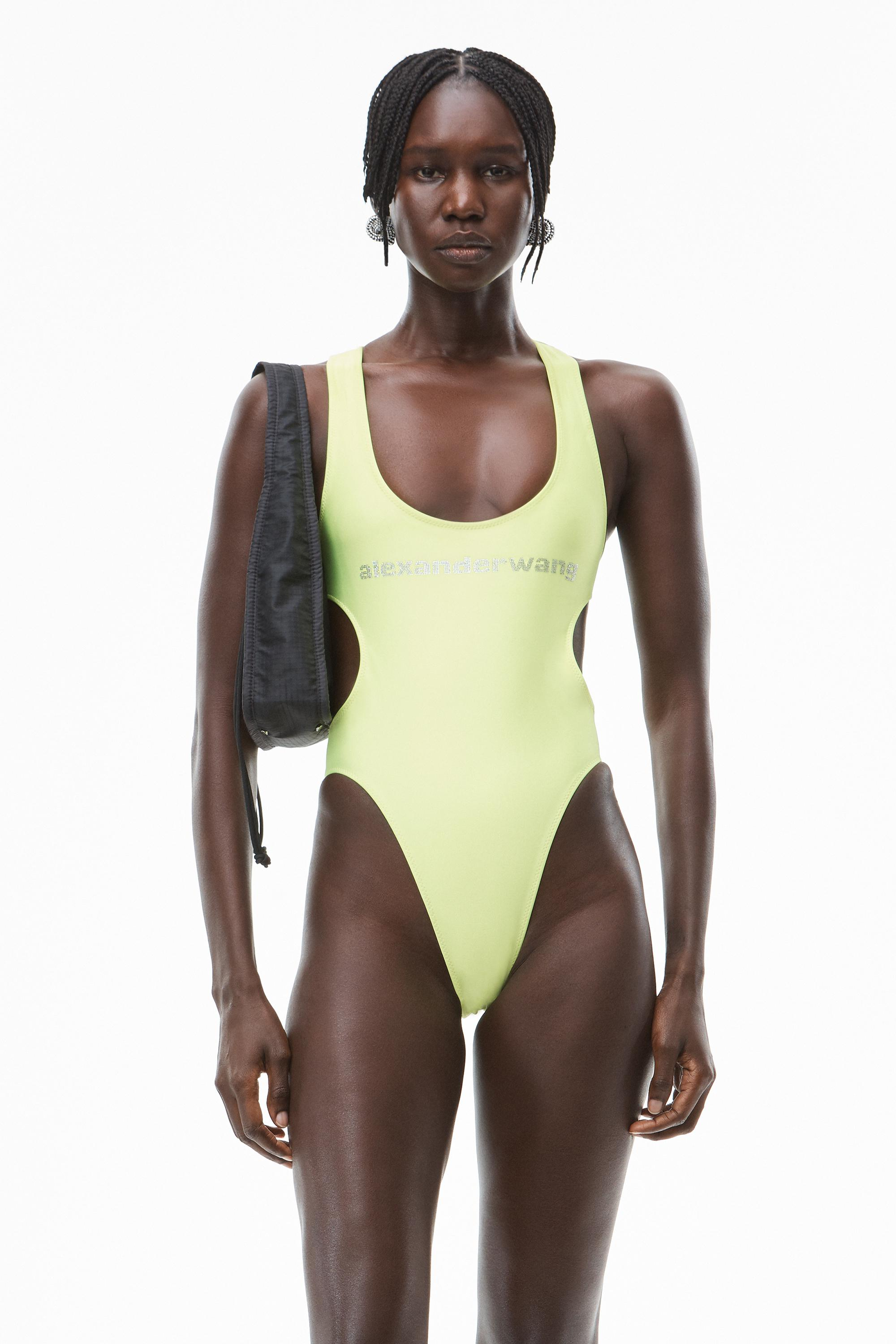 crystal logo swimsuit in active stretch