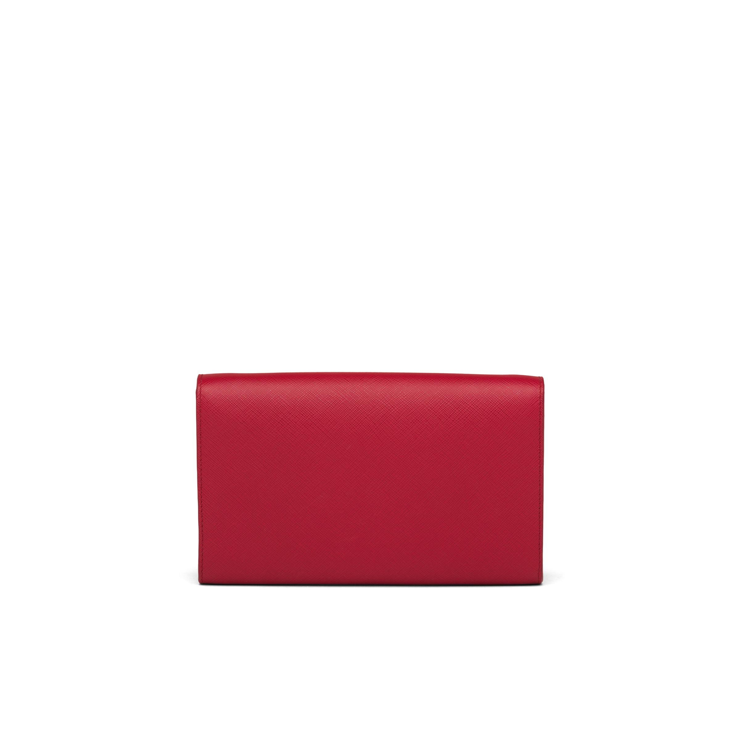 Saffiano And Leather Wallet With Shoulder Strap Women Fiery Red 3