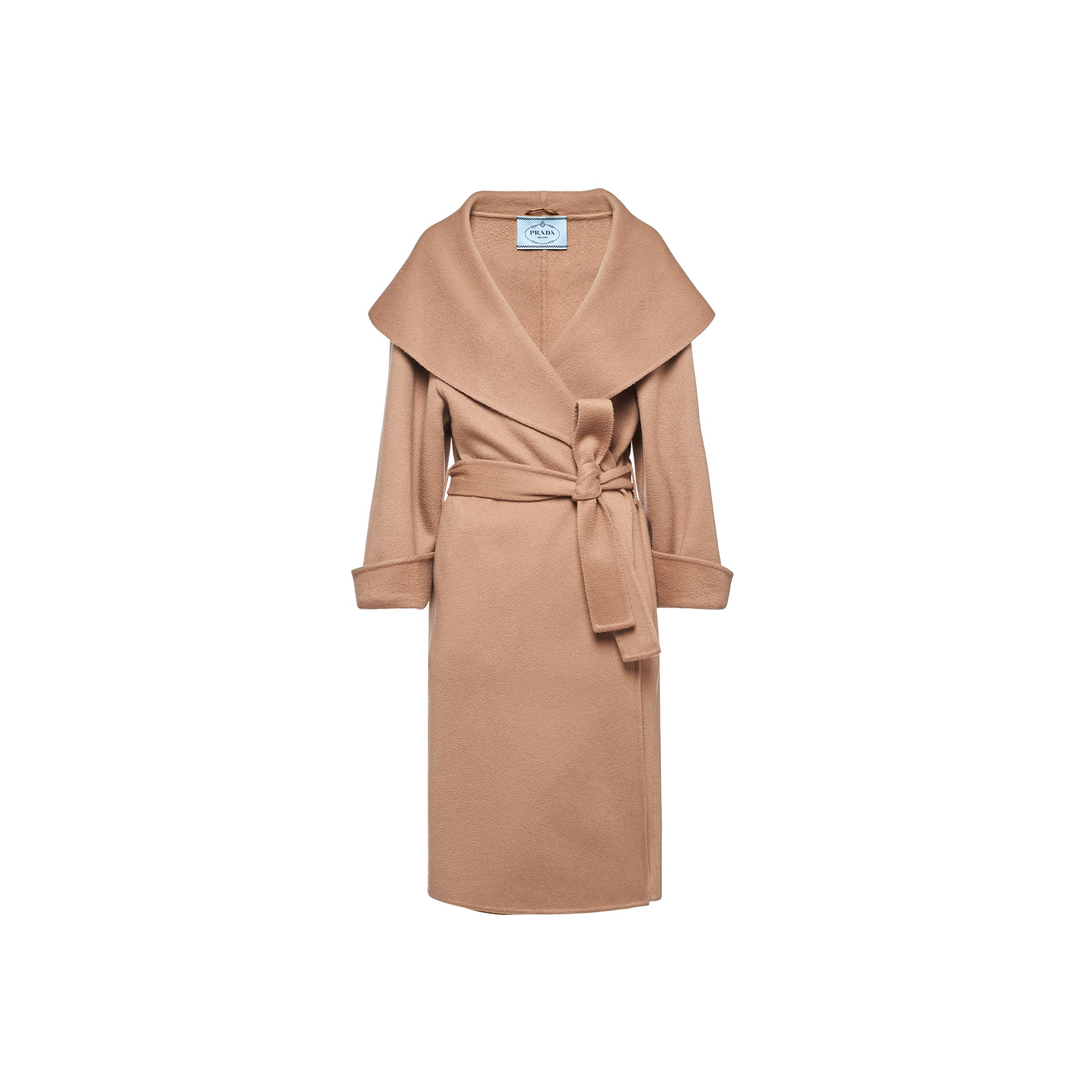 Single-breasted Cashmere Velour Coat Women Camel Brown