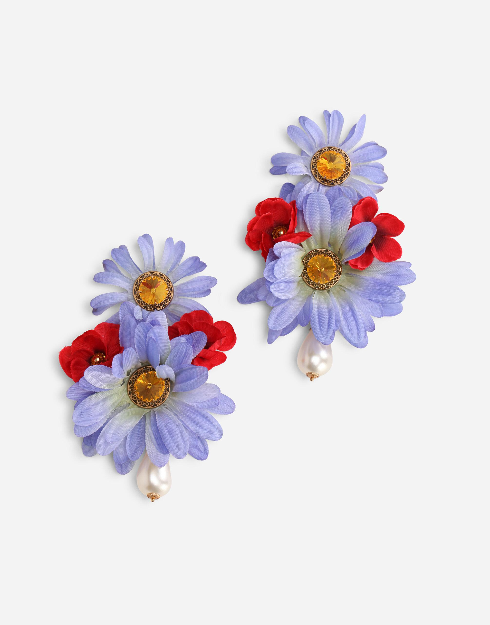 Drop earrings with fabric flowers