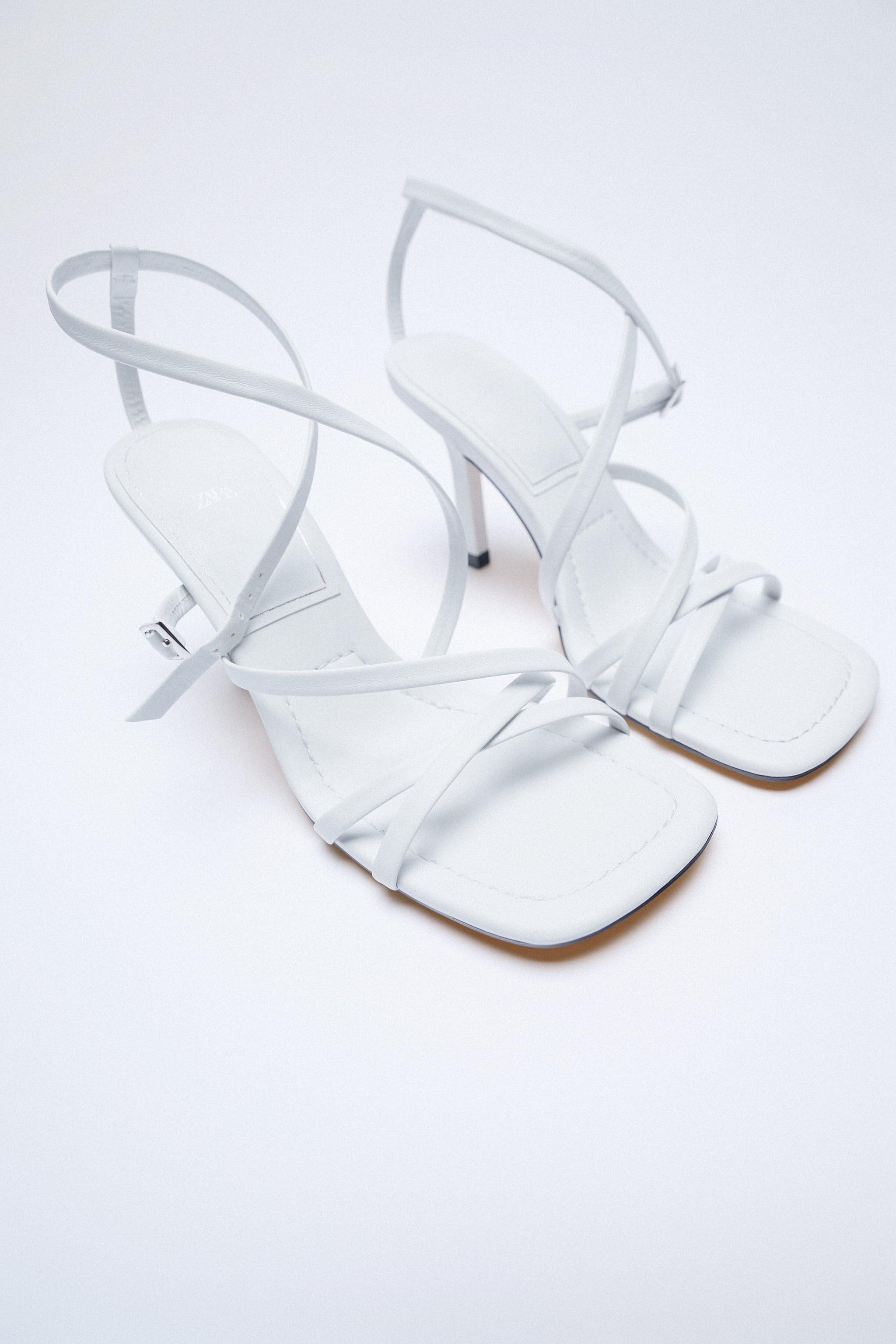 LEATHER HIGH HEEL STRAPPY SANDALS WITH BUCKLE 9