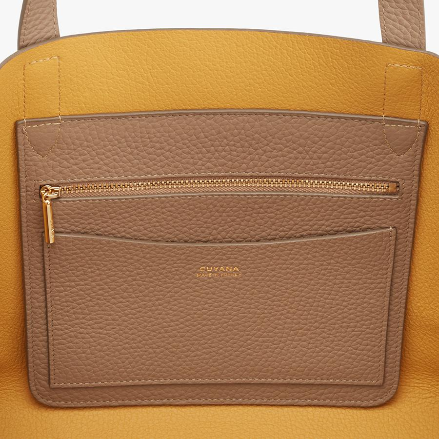 Women's Small Structured Leather Tote Bag in Cappuccino/Yellow | Pebbled Leather by Cuyana 2