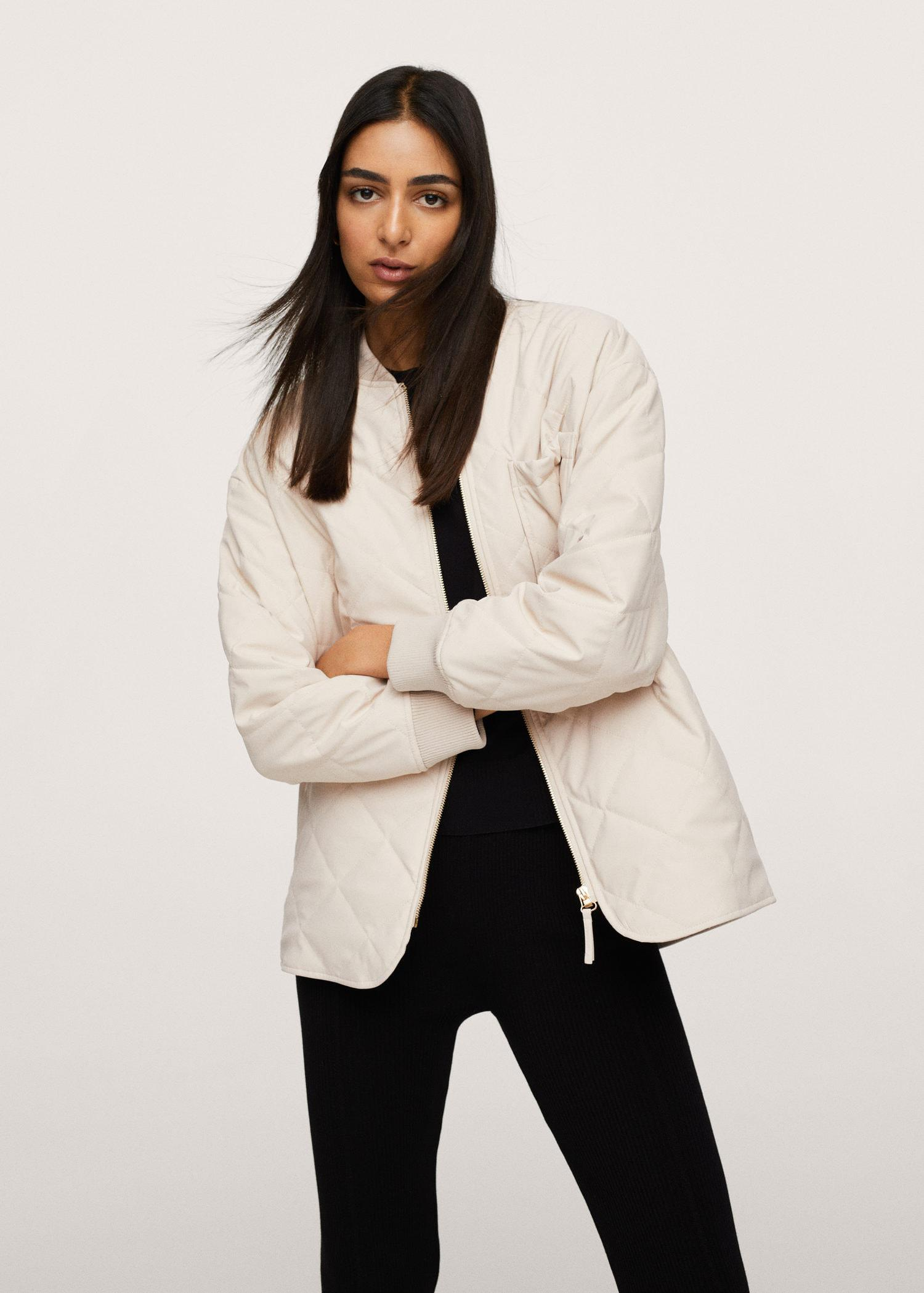 Leather effect quilted jacket