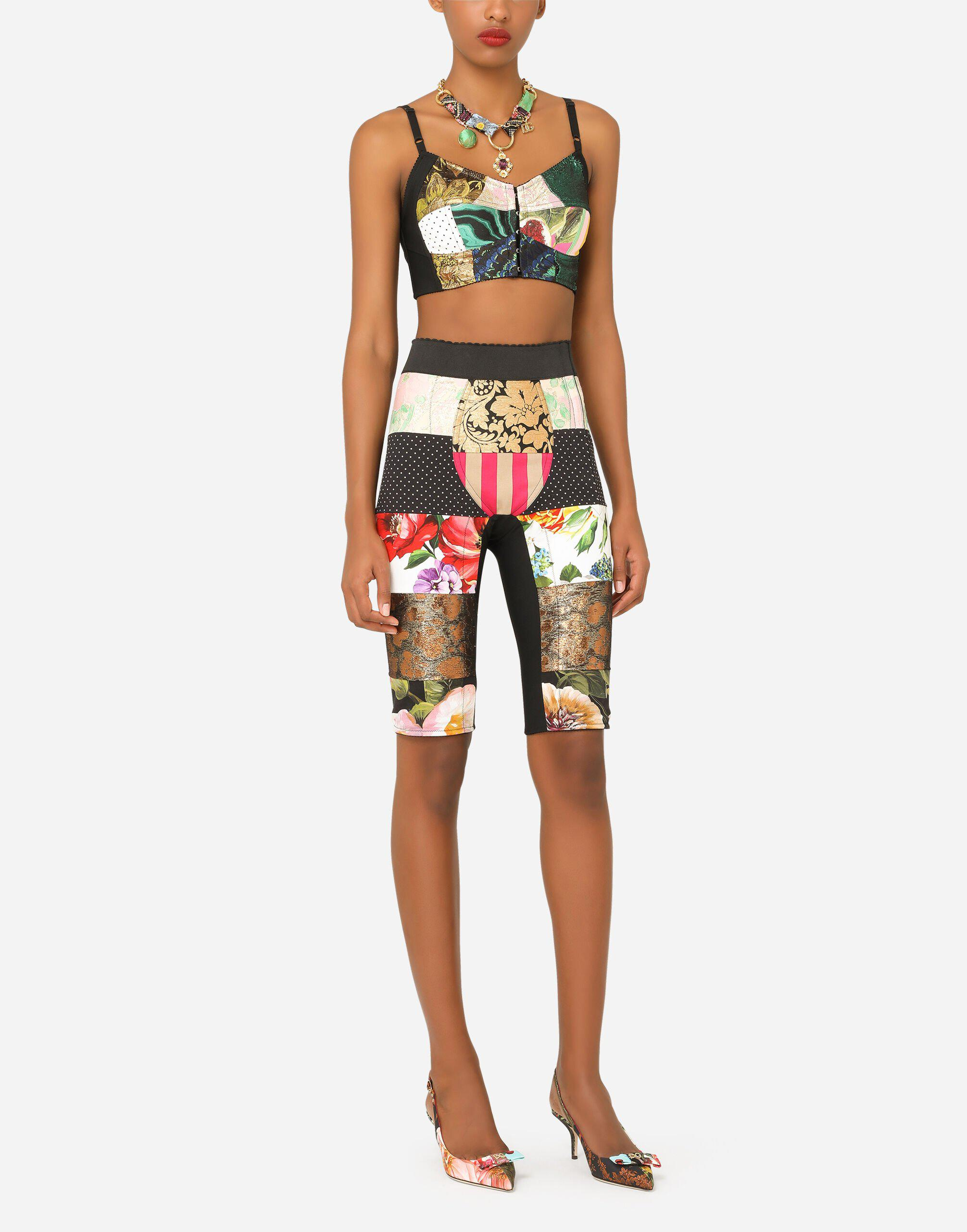 Patchwork drill and brocade jacquard bustier top 3