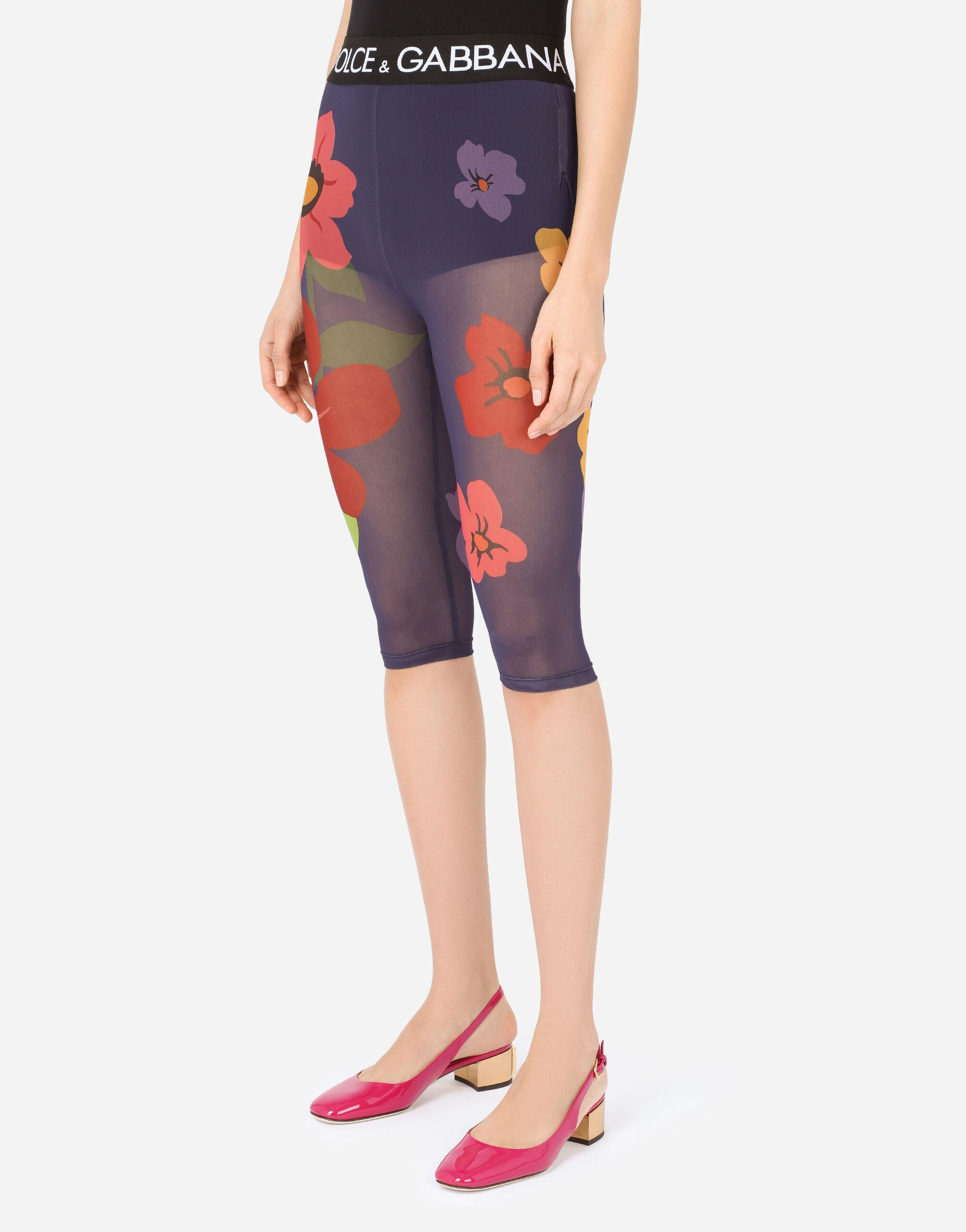 Floral-print marquisette cycling shorts with branded elastic 2