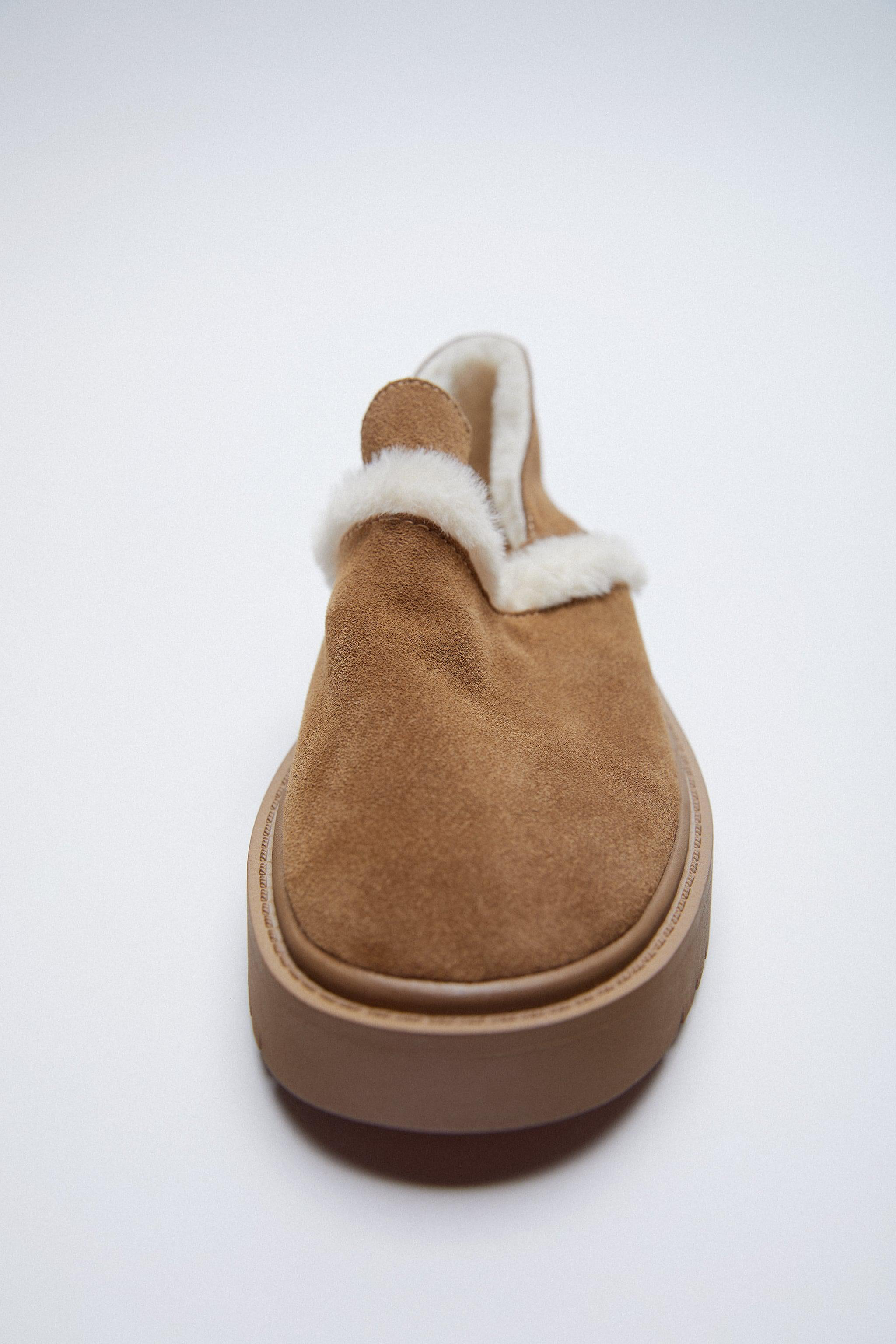 FAUX FUR LINED LOW HEELED LEATHER SHOES 3