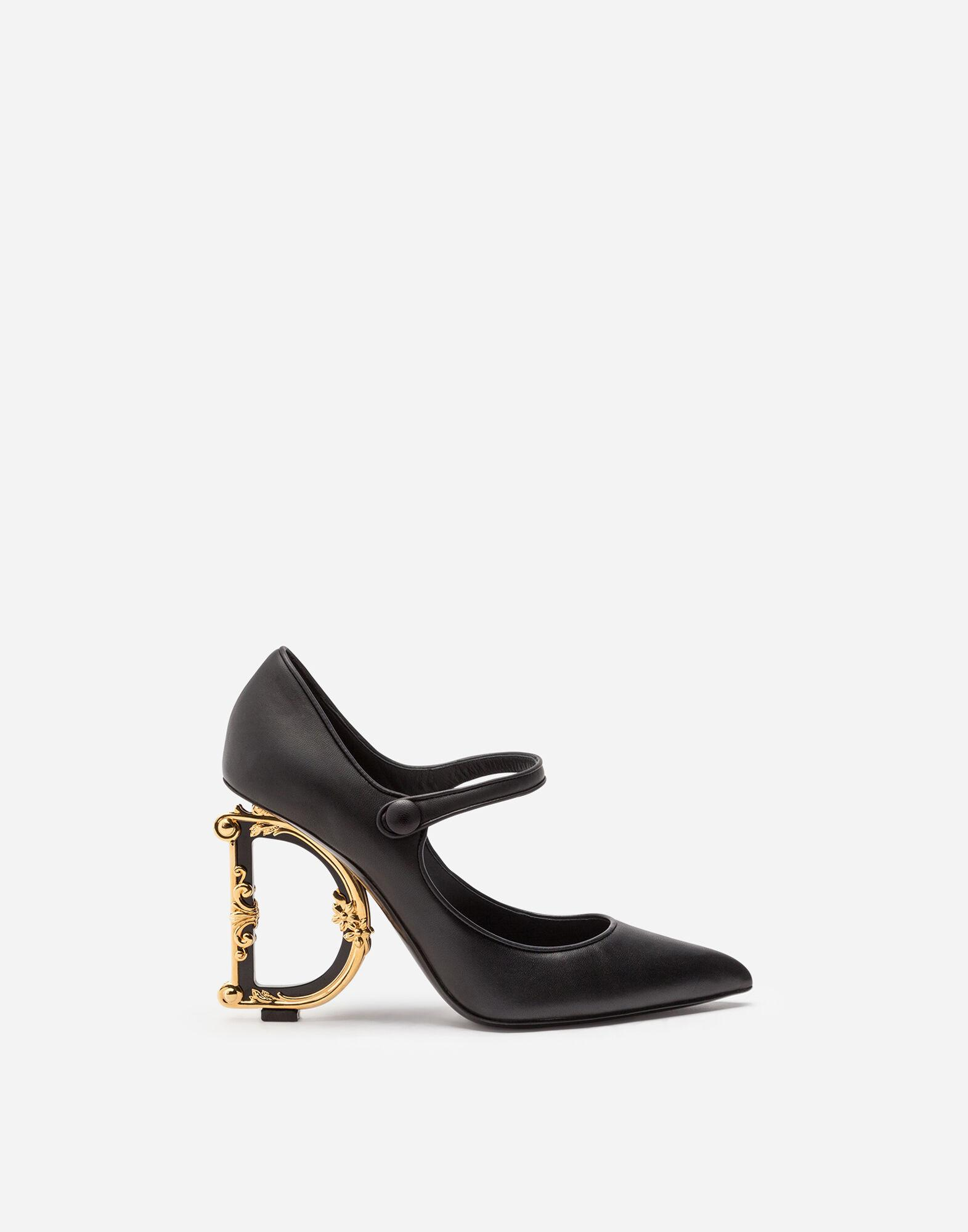 Nappa leather Mary Jane with baroque D&G heel