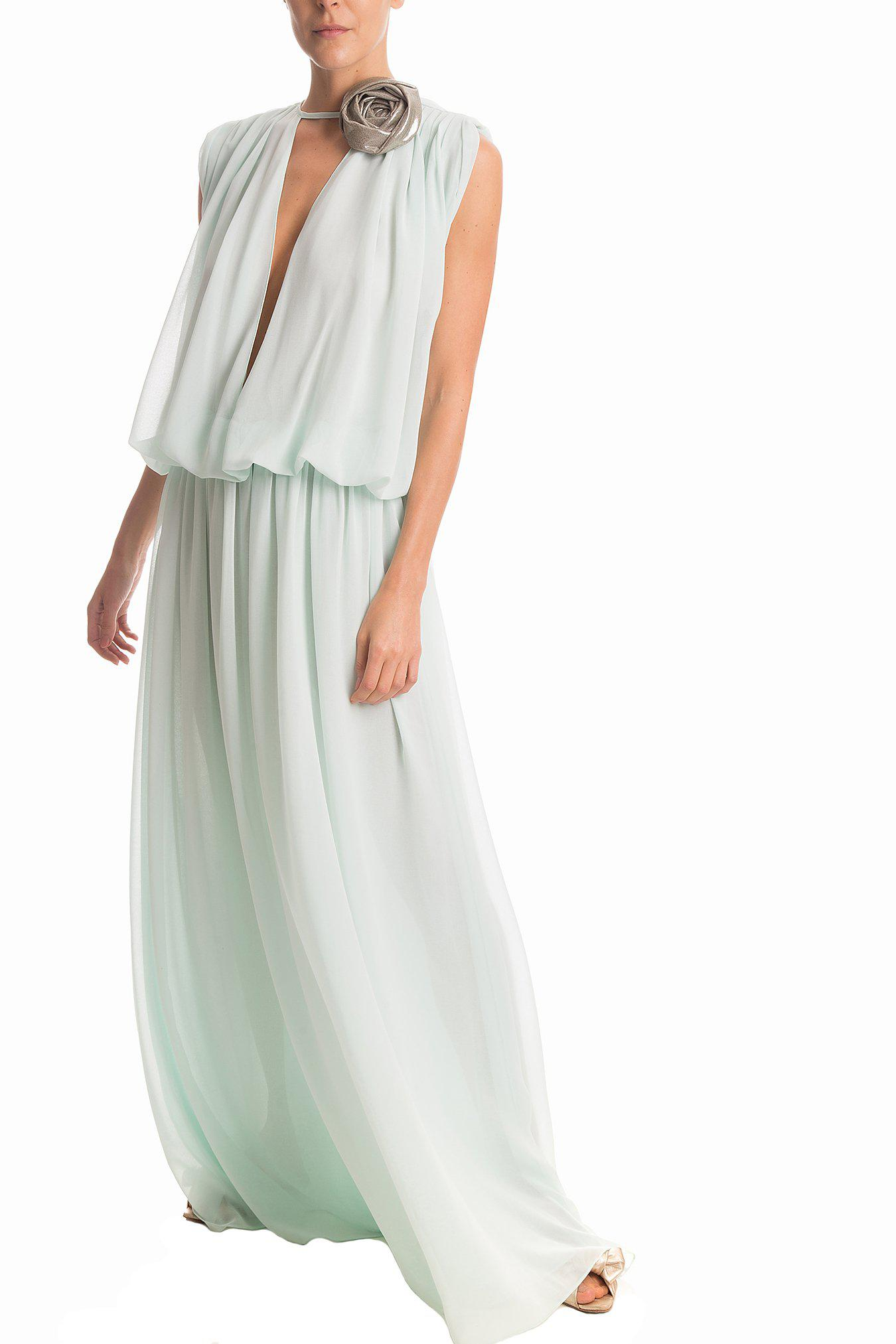 Solid Long Dress With Flower Detail