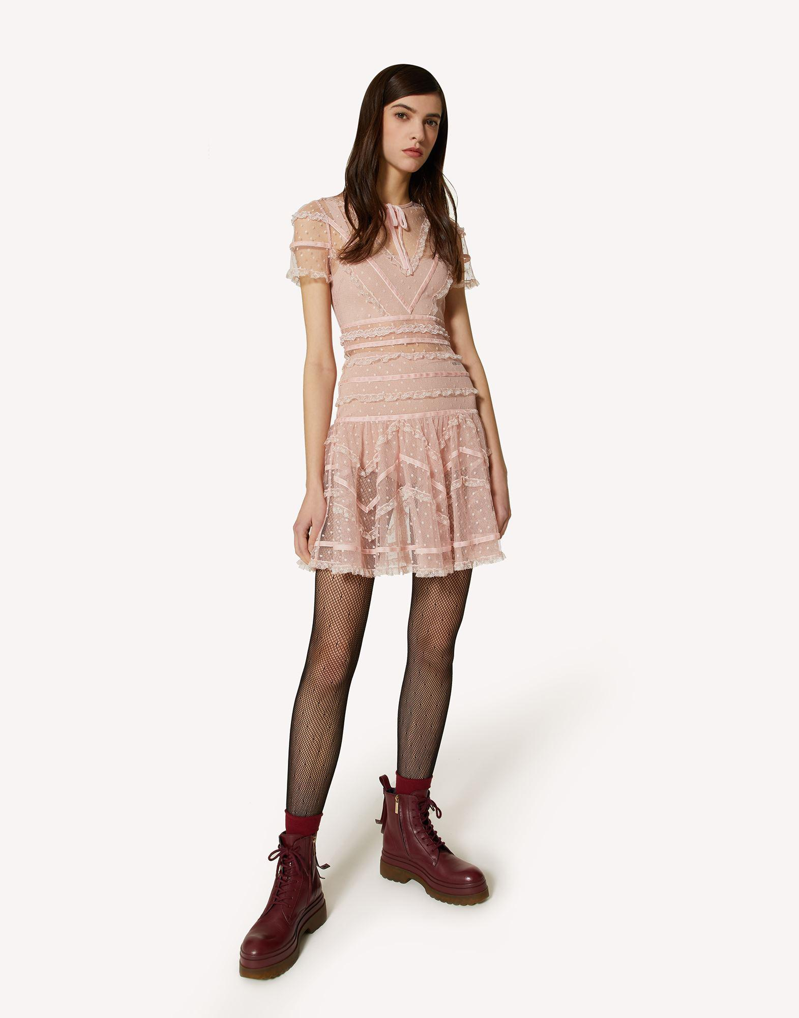 POINT D'ESPRIT TULLE DRESS WITH LACE AND VELVET RIBBONS 2