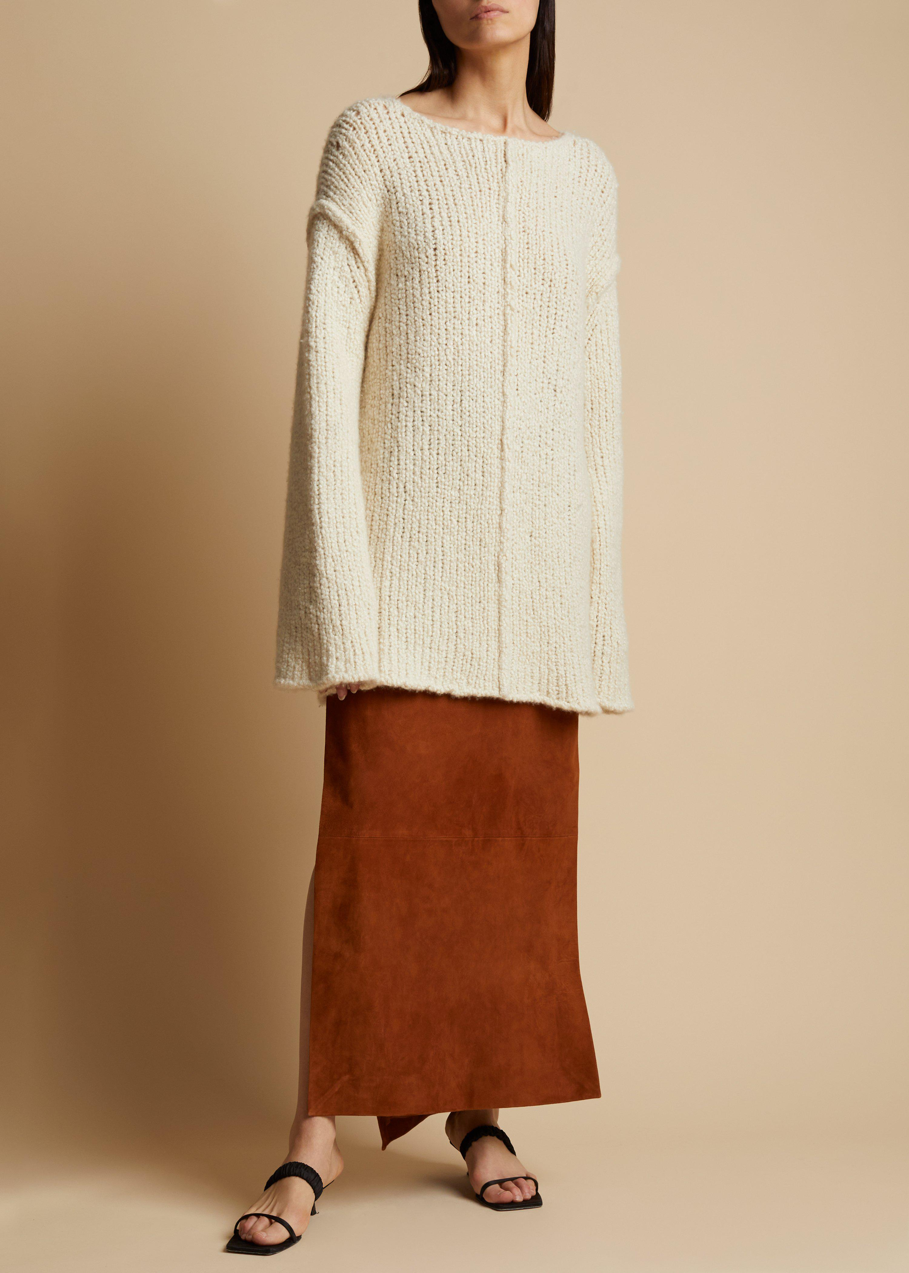 The Myla Skirt in Chestnut Suede
