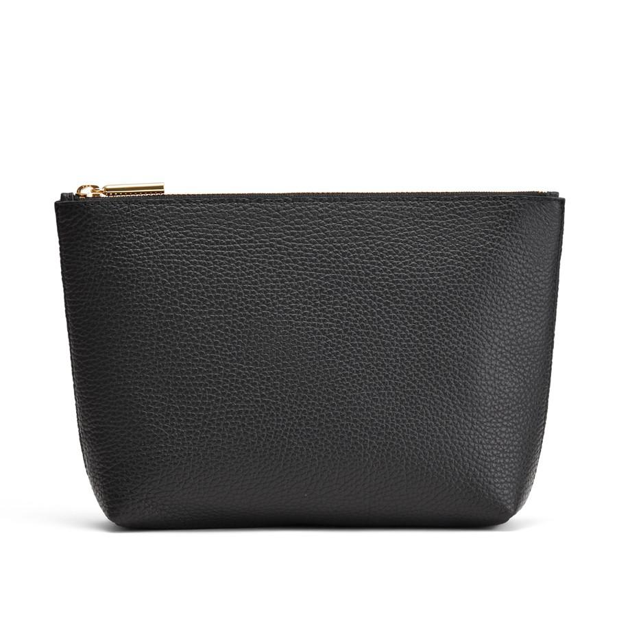 Women's Small Leather Zipper Pouch in Black | Pebbled Leather by Cuyana