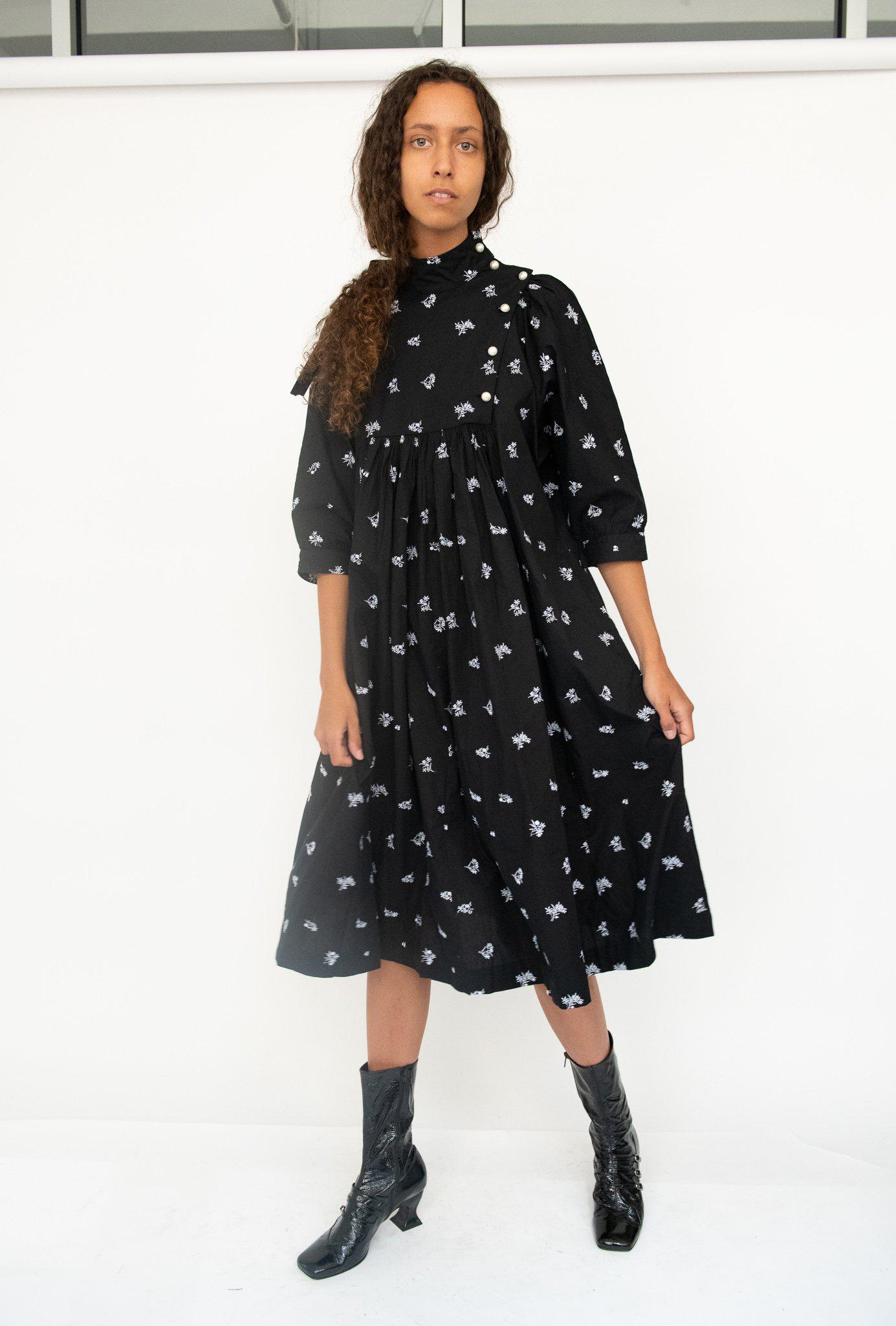 Smock Dress in Black Embroidered Cotton 1