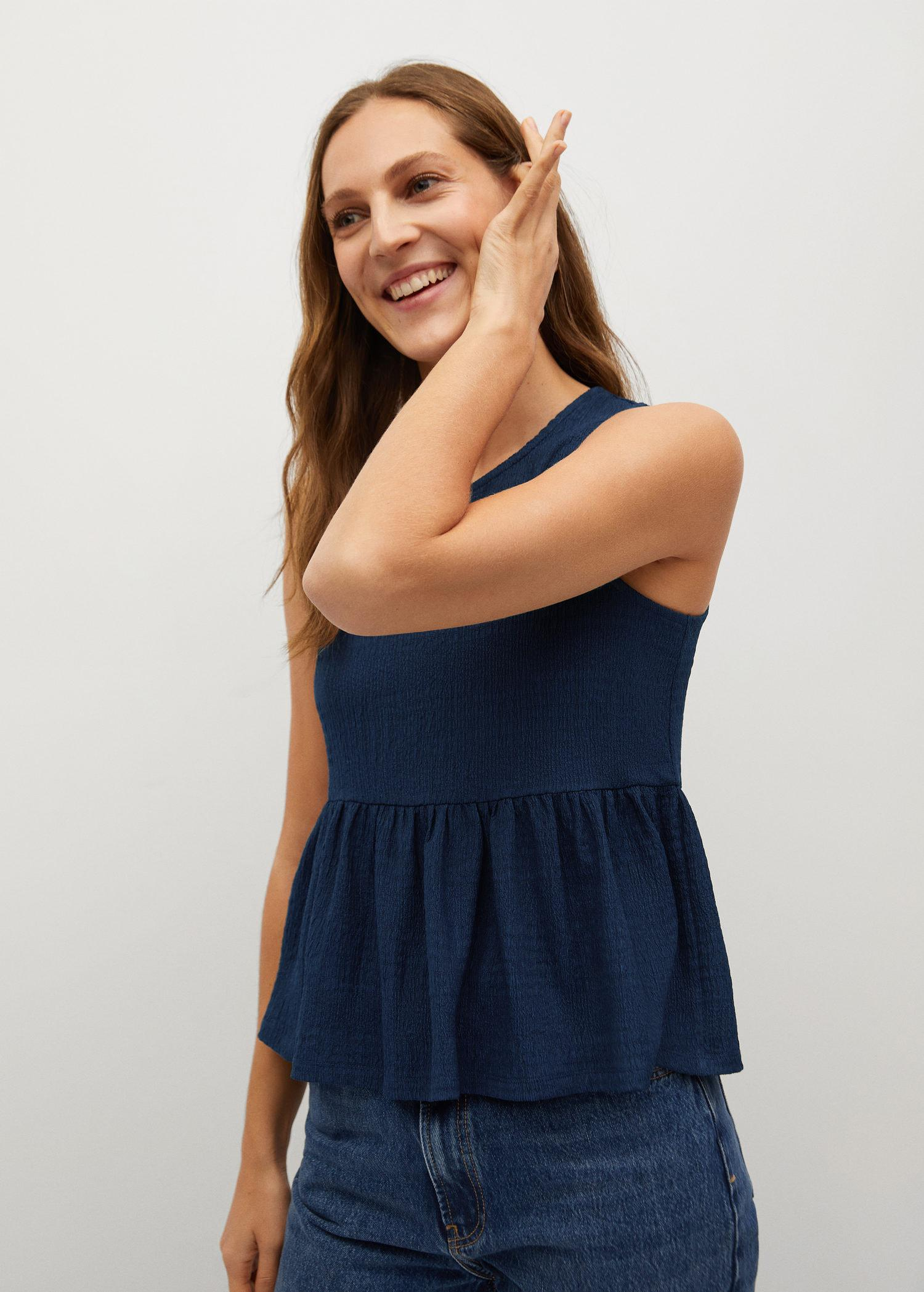 Top with ruffle texture