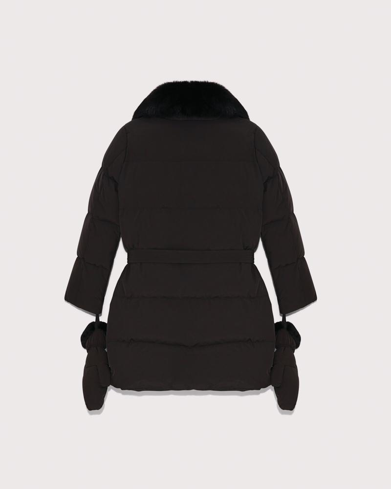 belted down jacket with fox collar 6