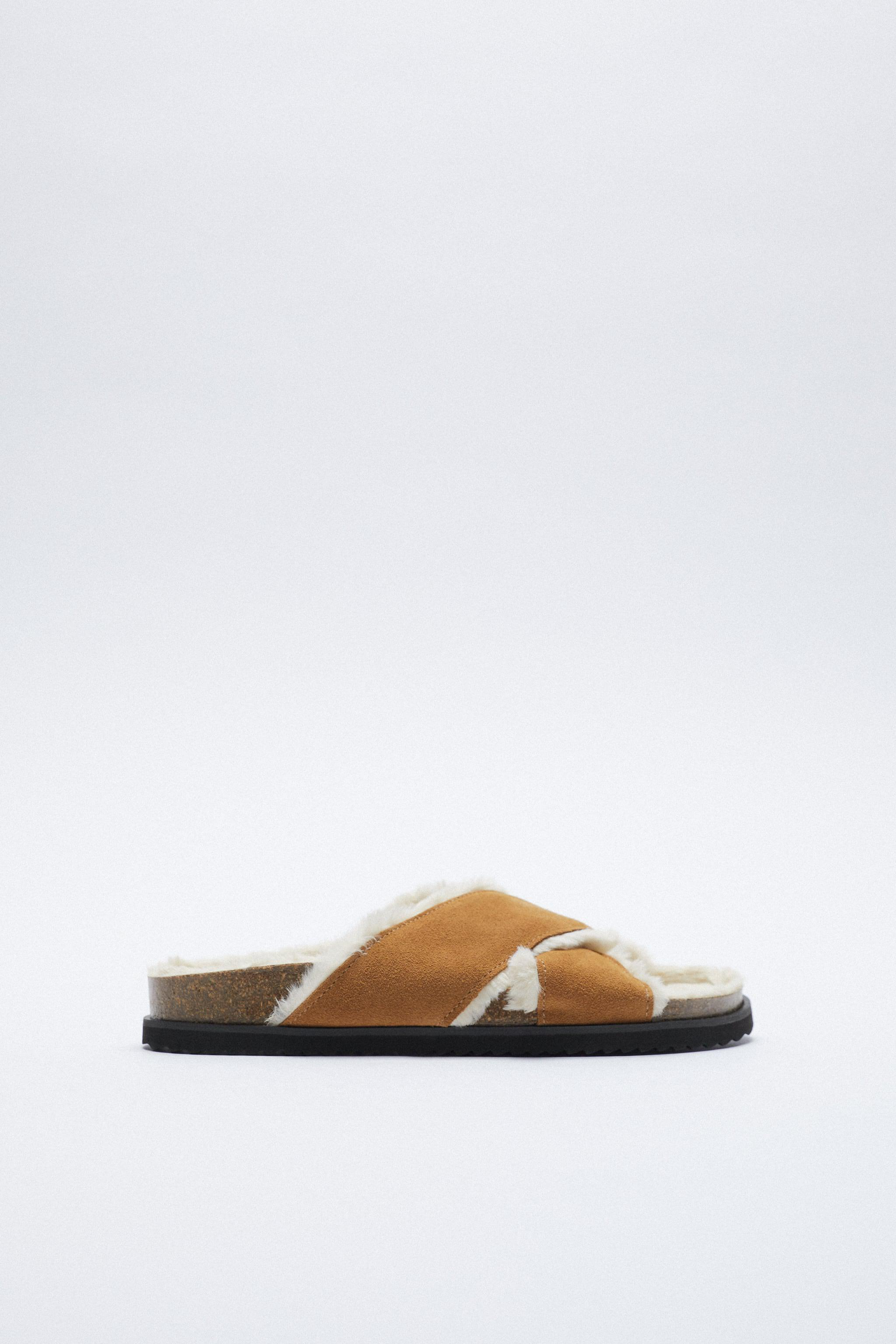 FAUX FUR LINED FLAT LEATHER SANDALS
