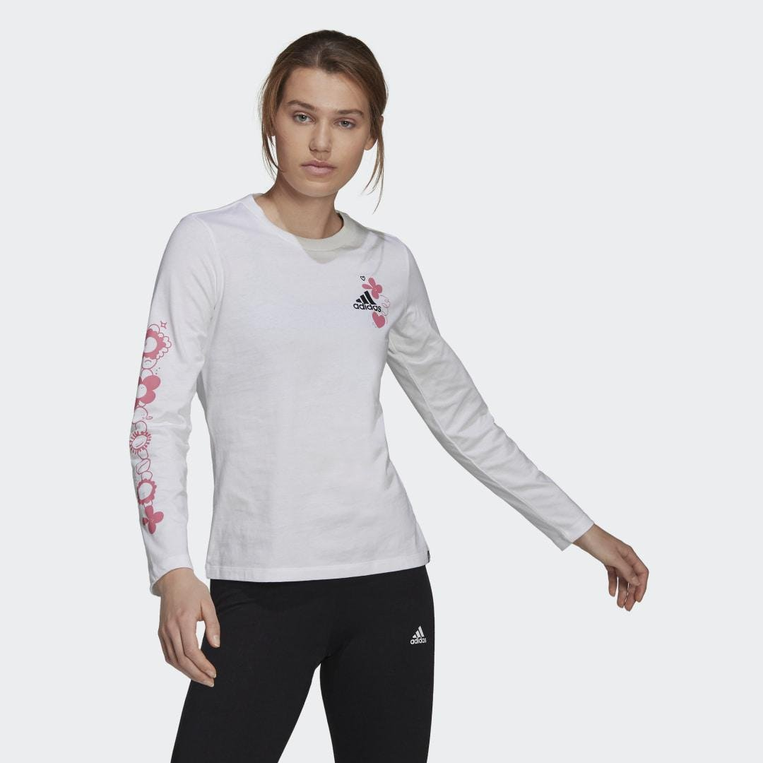 Floral Long Sleeve Graphic Tee White XS - Womens Training Long Sleeve Shirts